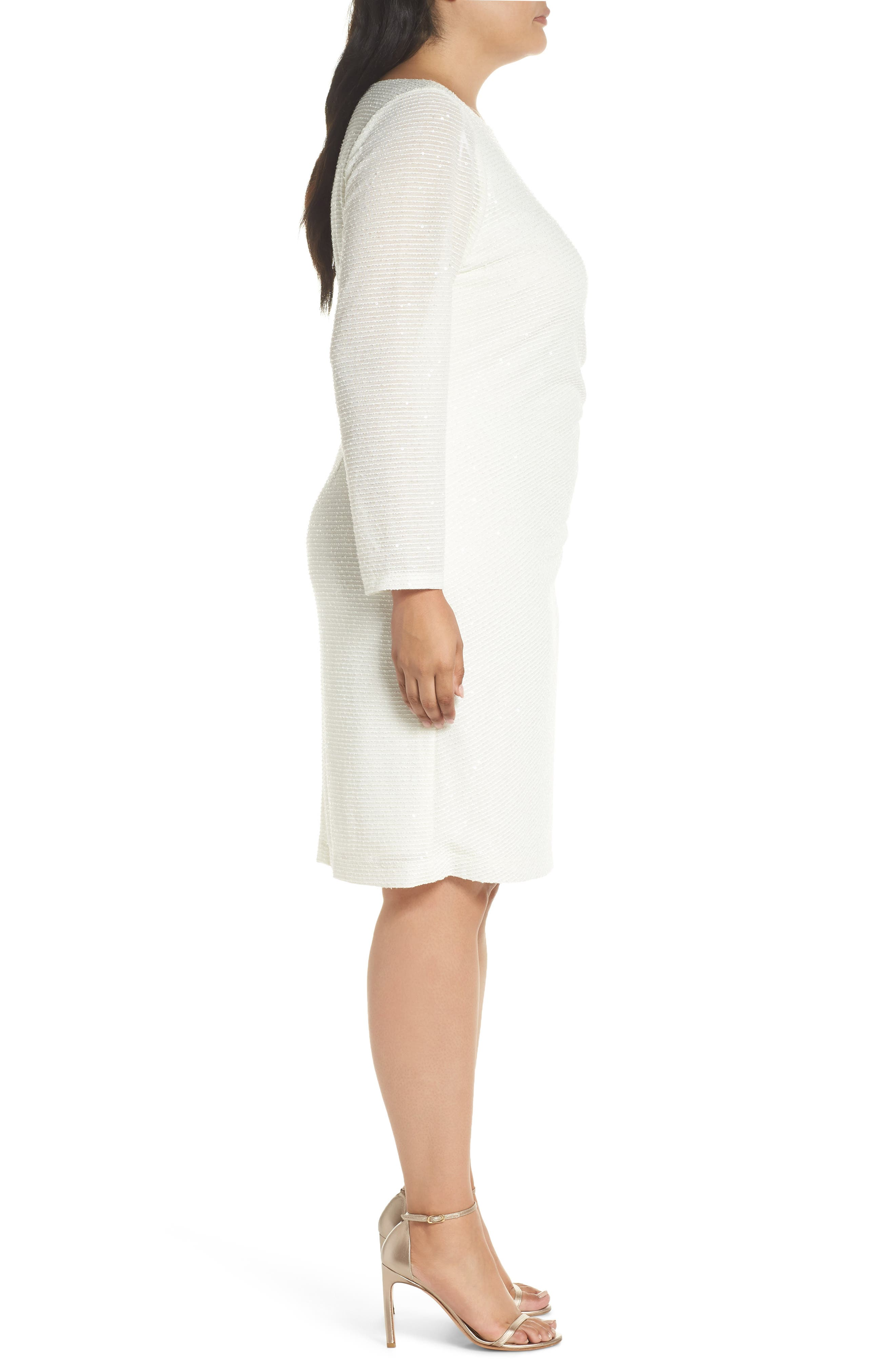 Sequin & Ruched Body-Con Dress,                             Alternate thumbnail 3, color,                             IVORY