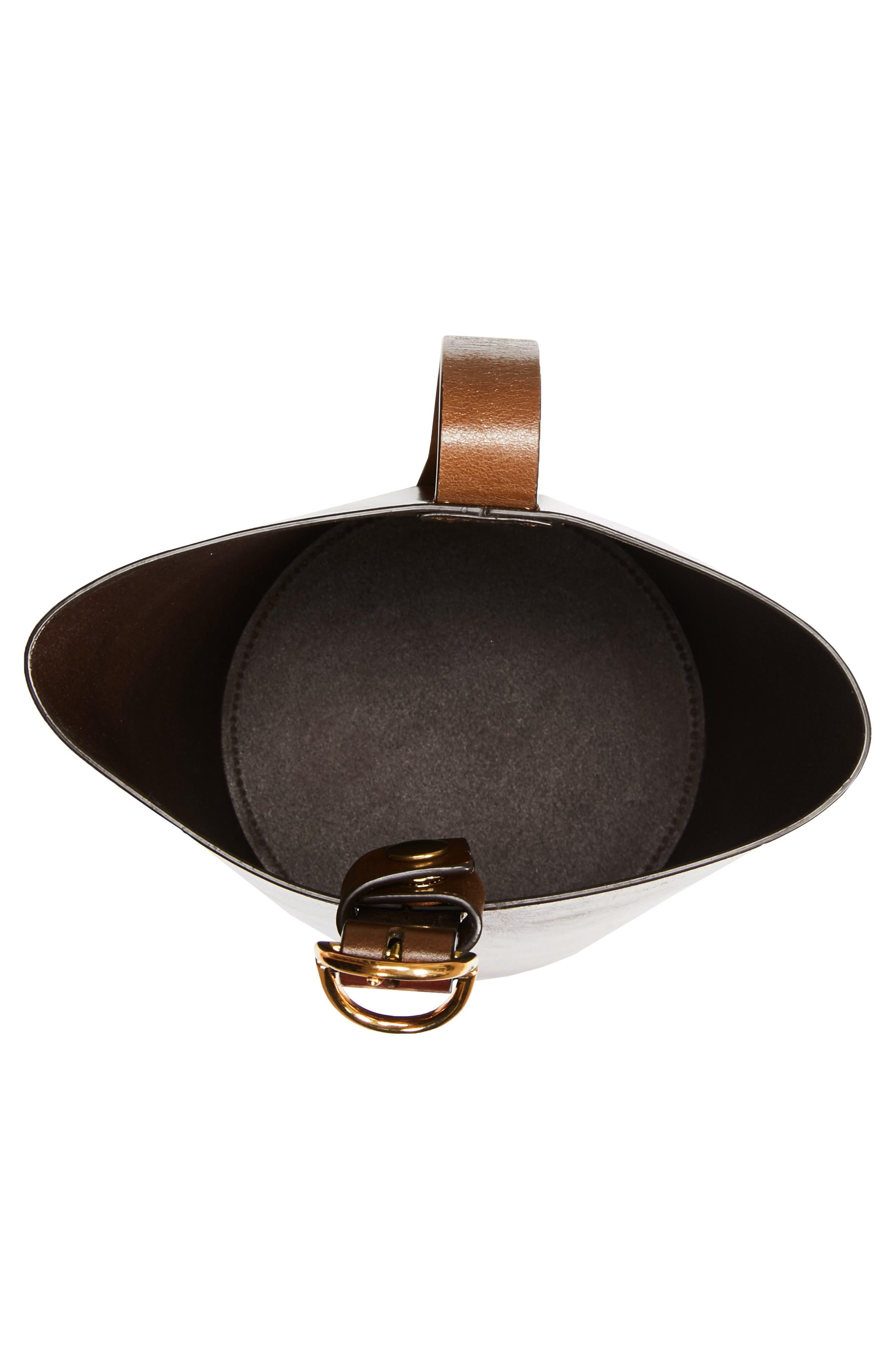 Small Leather Bucket Bag,                             Alternate thumbnail 4, color,                             SADDLE/ SADDLE