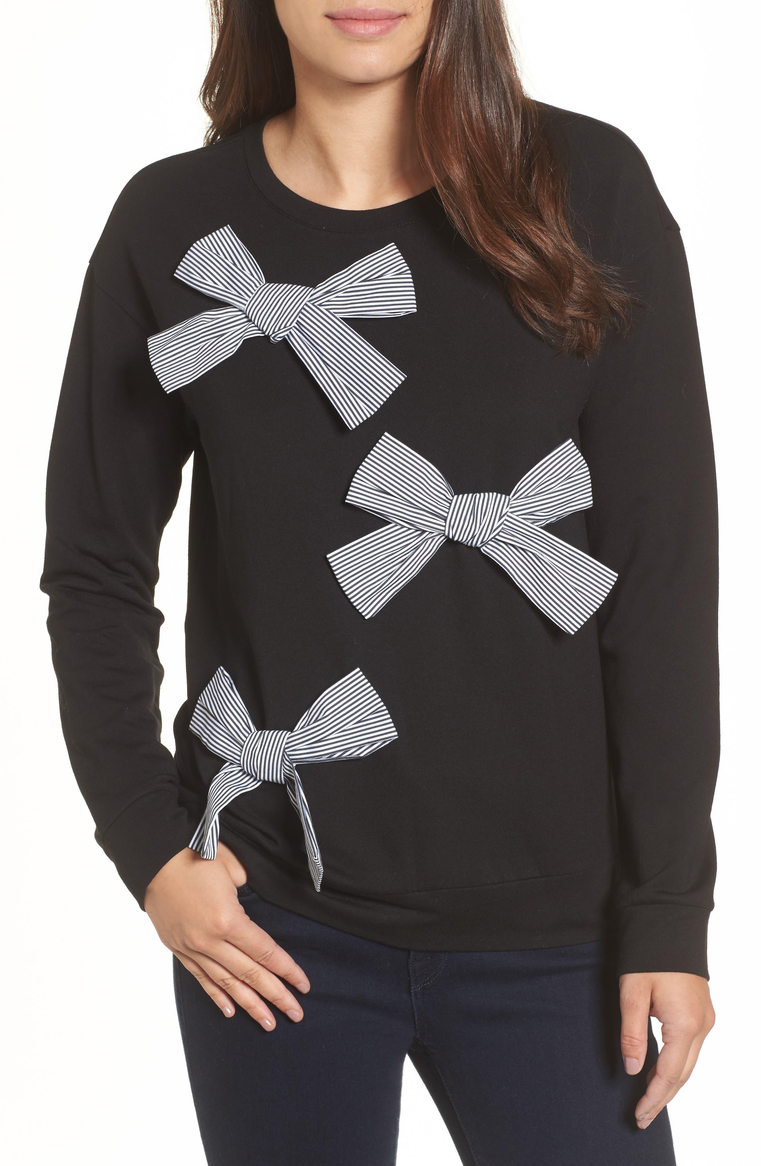 Bow Detail Sweatshirt,                         Main,                         color, 001
