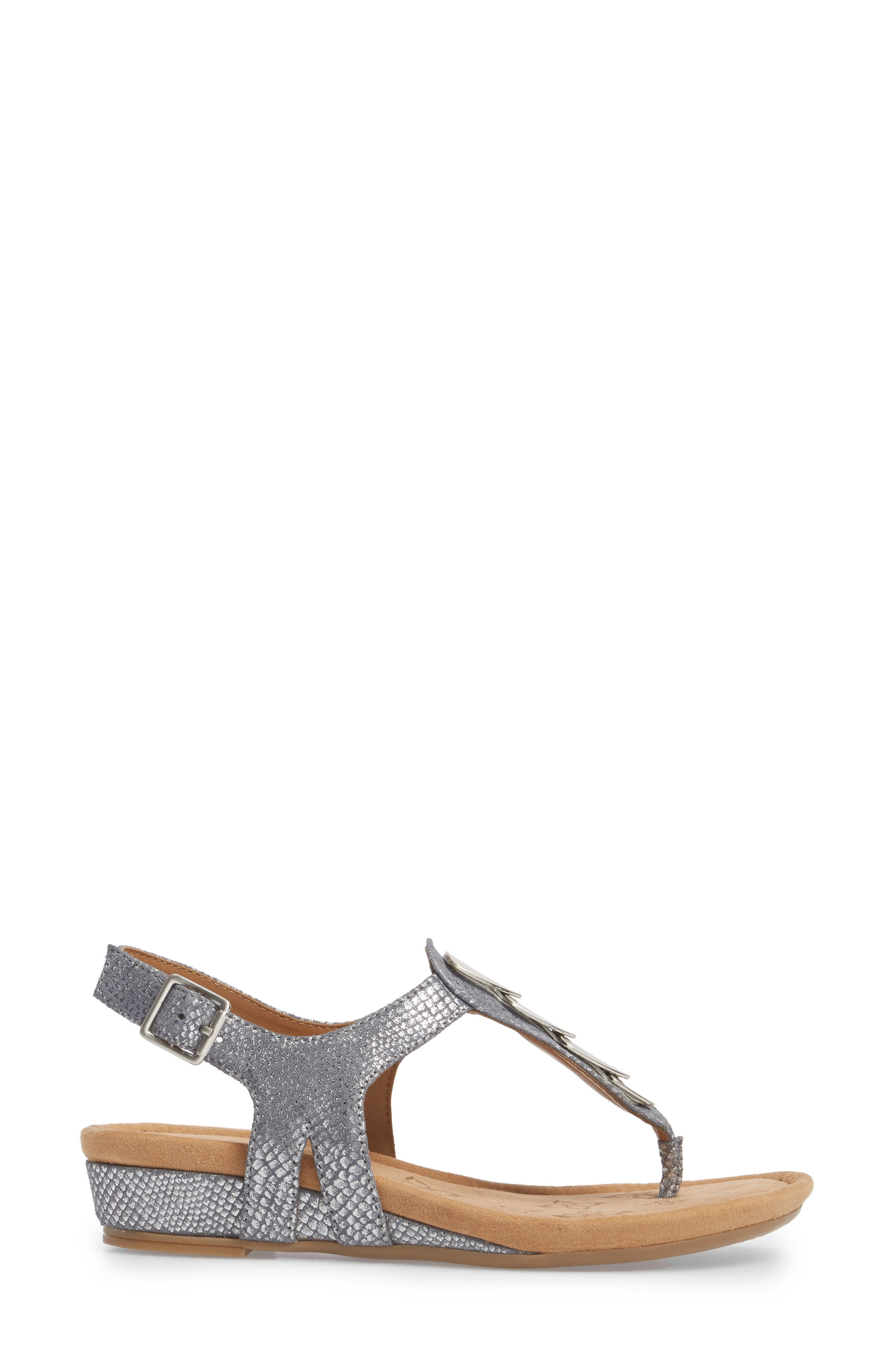Summit Wedge Sandal,                             Alternate thumbnail 3, color,                             PEWTER SUEDE
