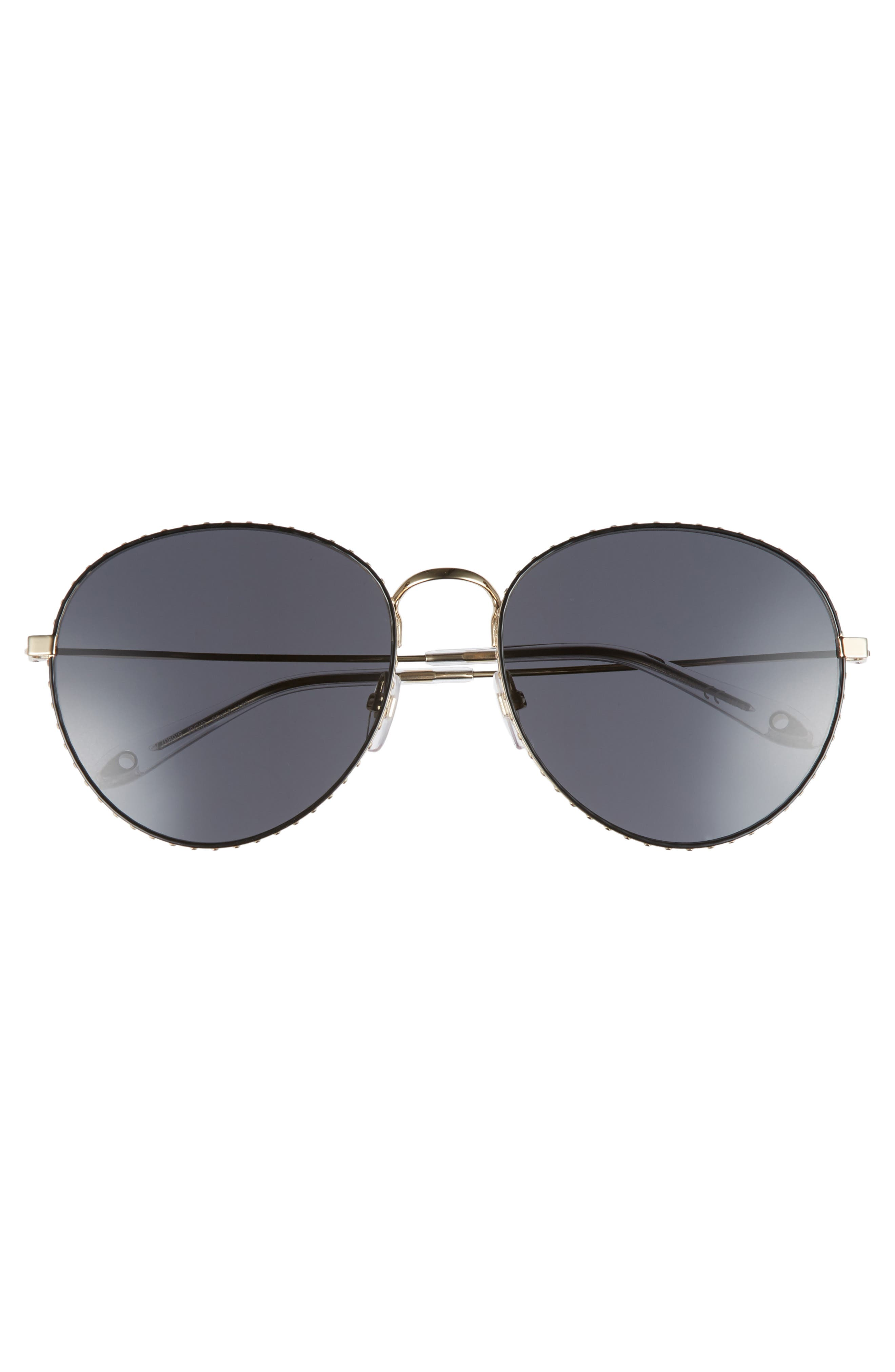 60mm Round Metal Sunglasses,                             Alternate thumbnail 3, color,                             GOLD