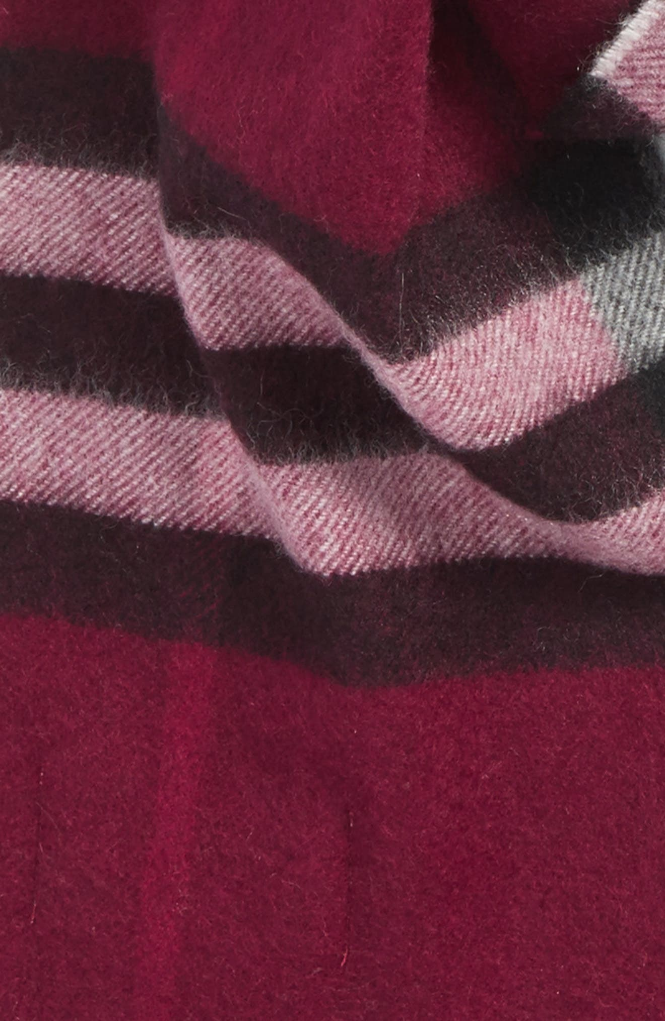 Giant Check Cashmere Scarf,                             Alternate thumbnail 4, color,                             PLUM CHECK