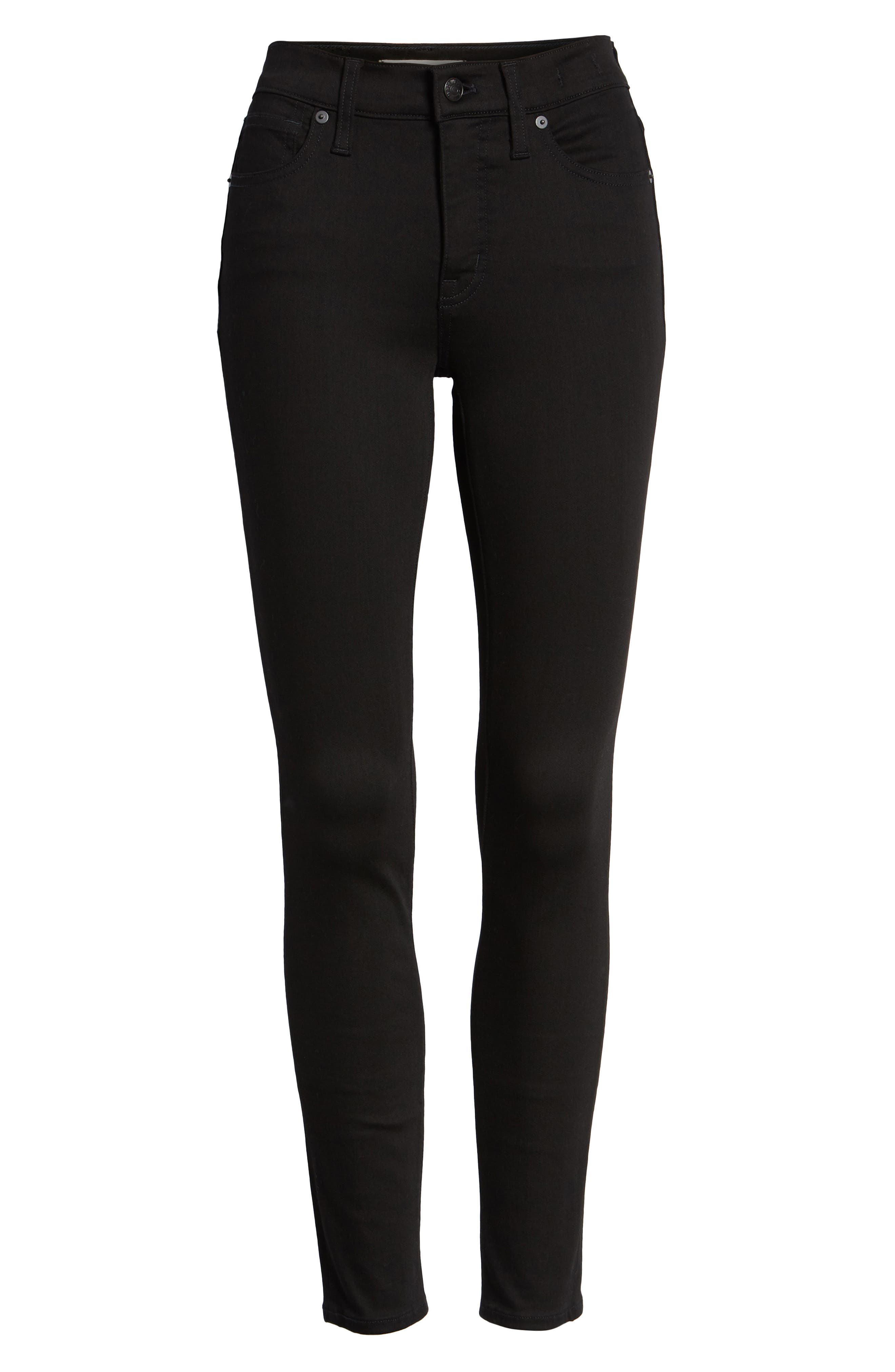 9-Inch High Waist Skinny Jeans,                             Alternate thumbnail 6, color,                             BLACK FROST