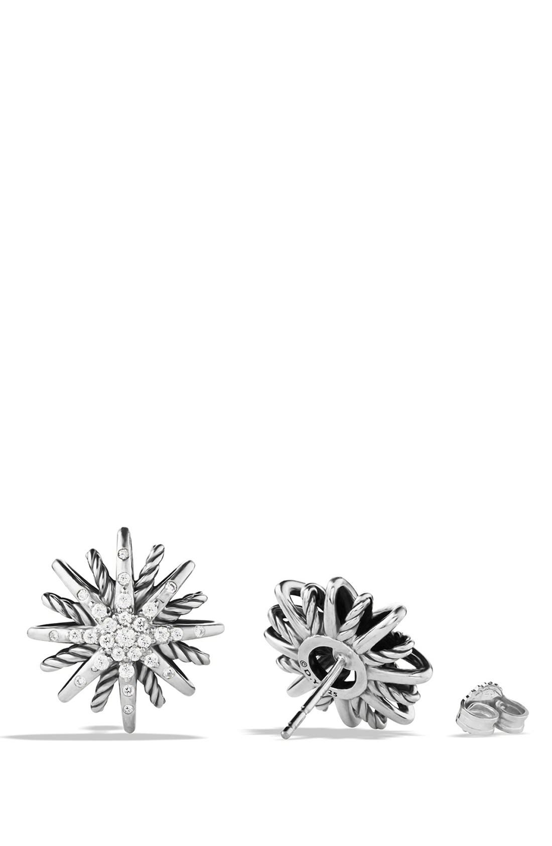 'Starburst' Small Earrings with Diamonds,                             Alternate thumbnail 3, color,                             DIAMOND
