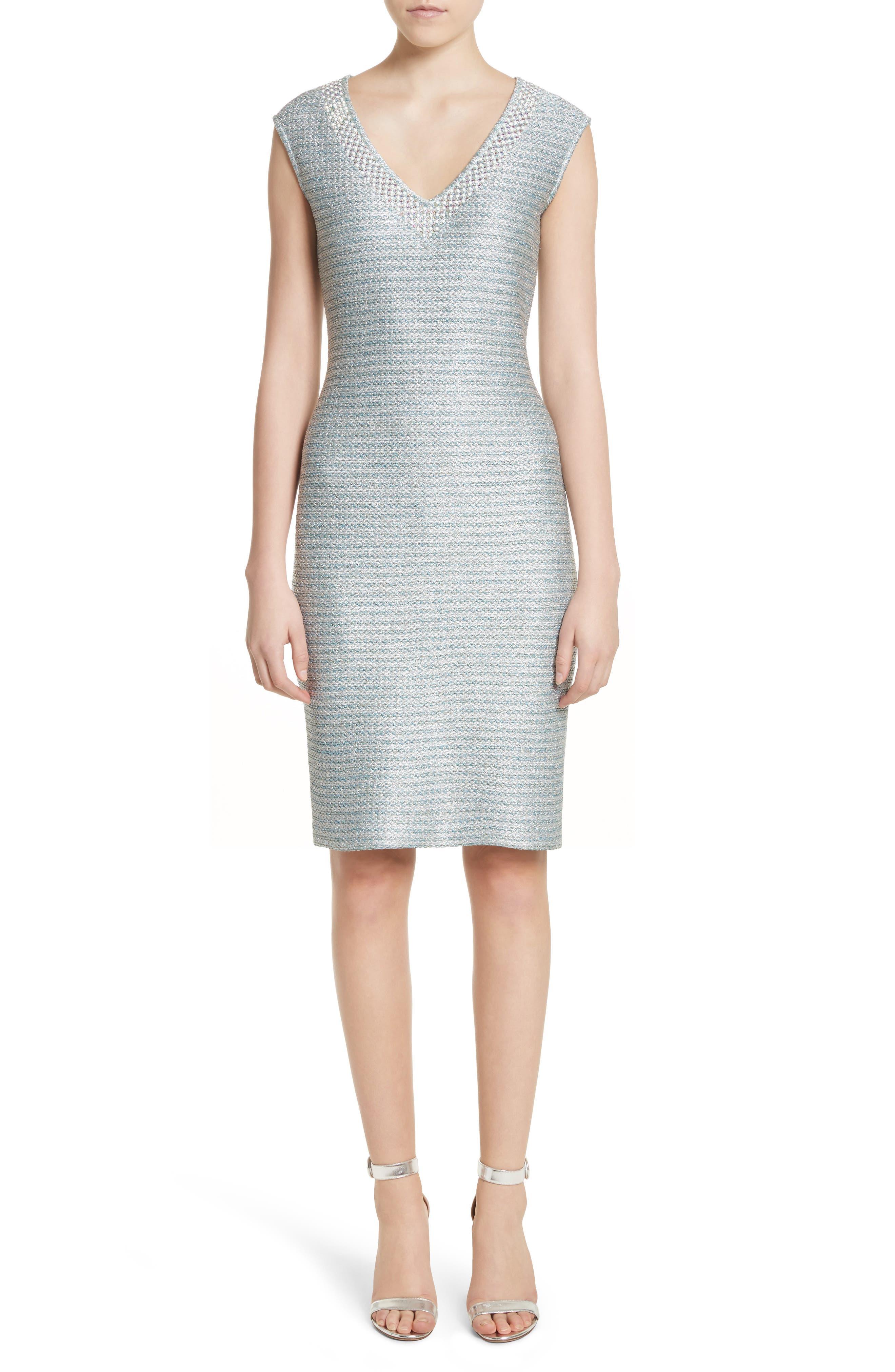 Gleam Metallic Knit Sheath Dress,                             Main thumbnail 1, color,                             350