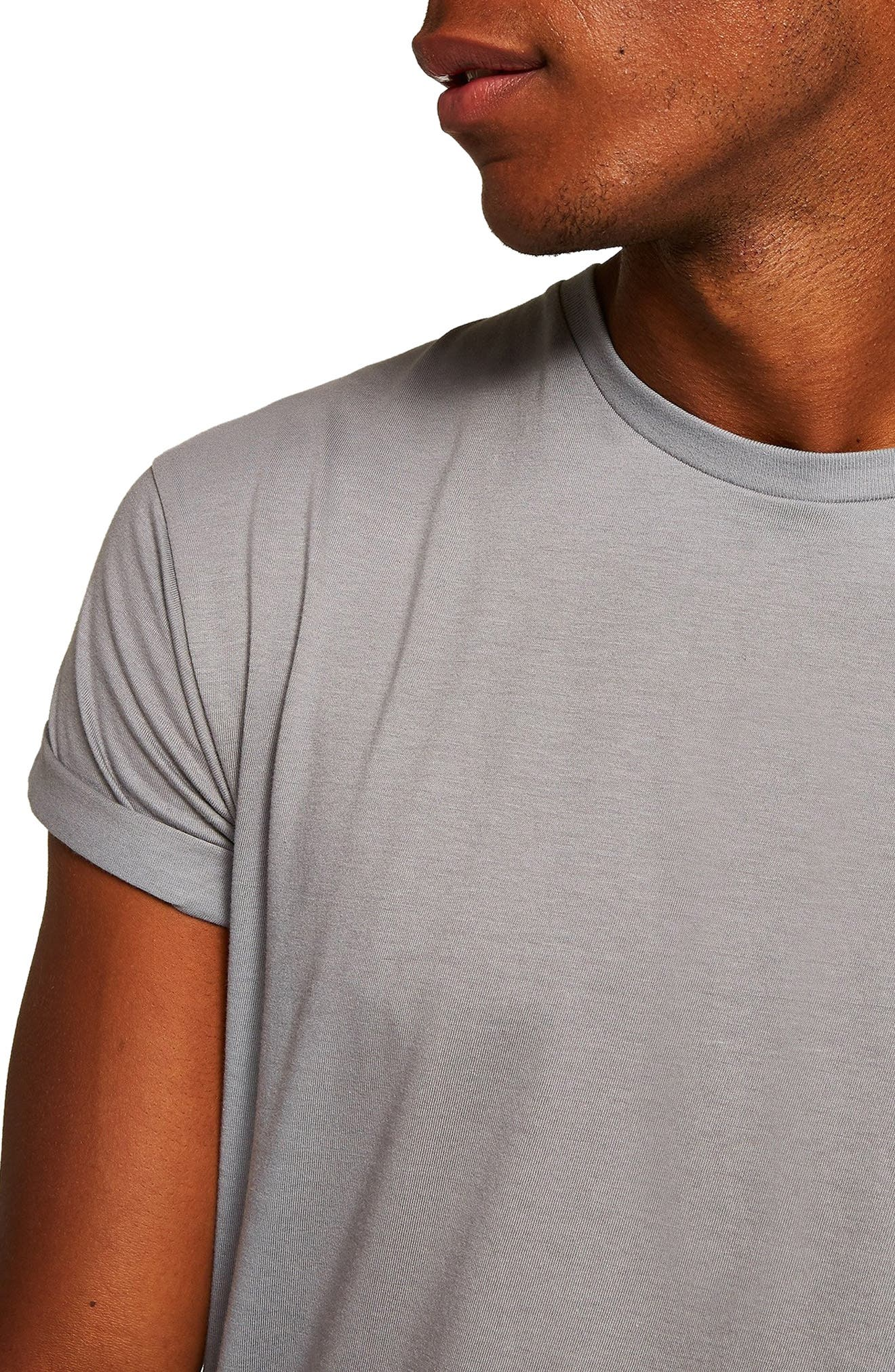 Muscle Fit Roller T-Shirt,                             Alternate thumbnail 4, color,                             CHARCOAL