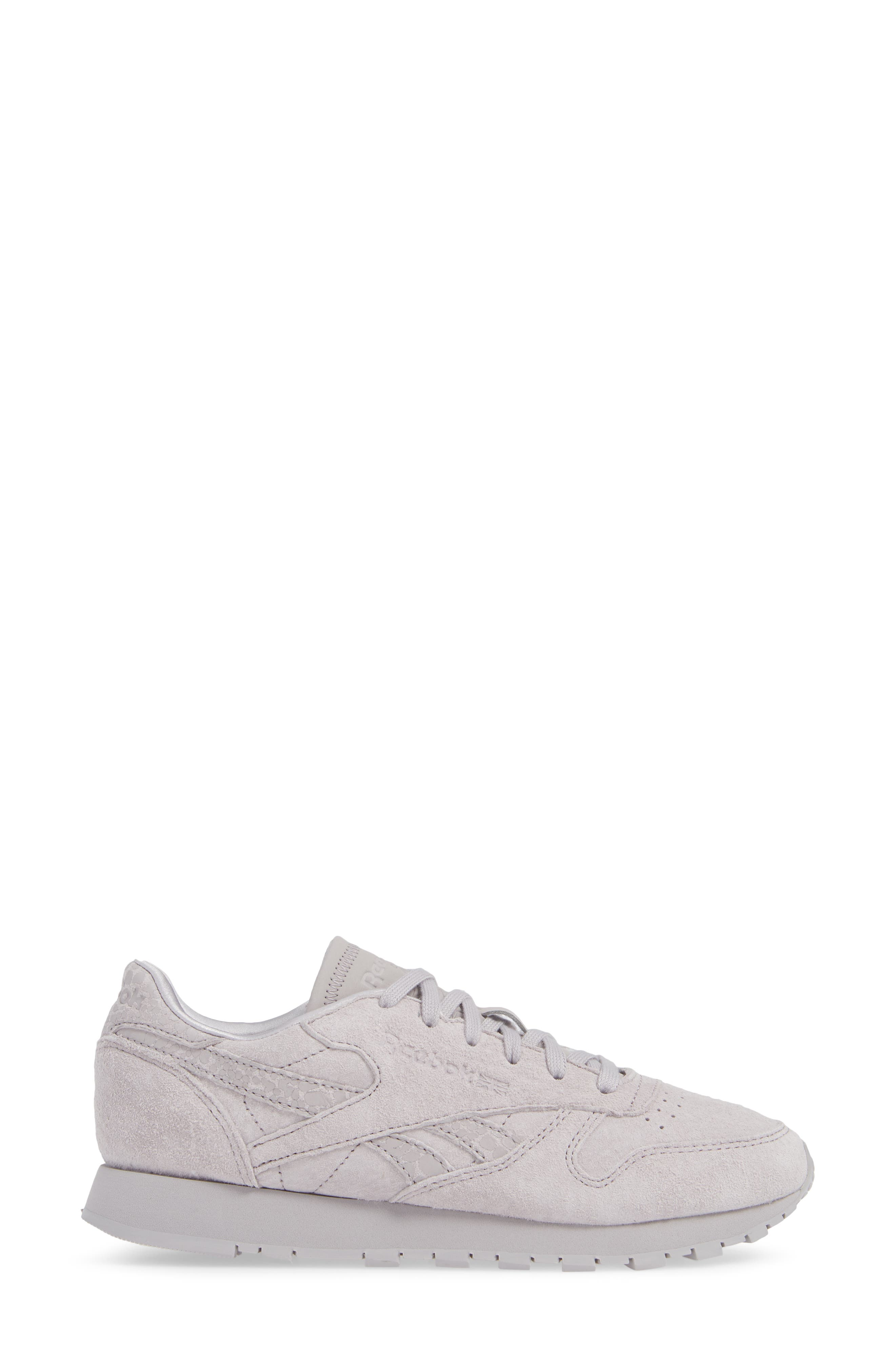 Classic Leather Sneaker,                             Alternate thumbnail 3, color,                             WHISPER GREY
