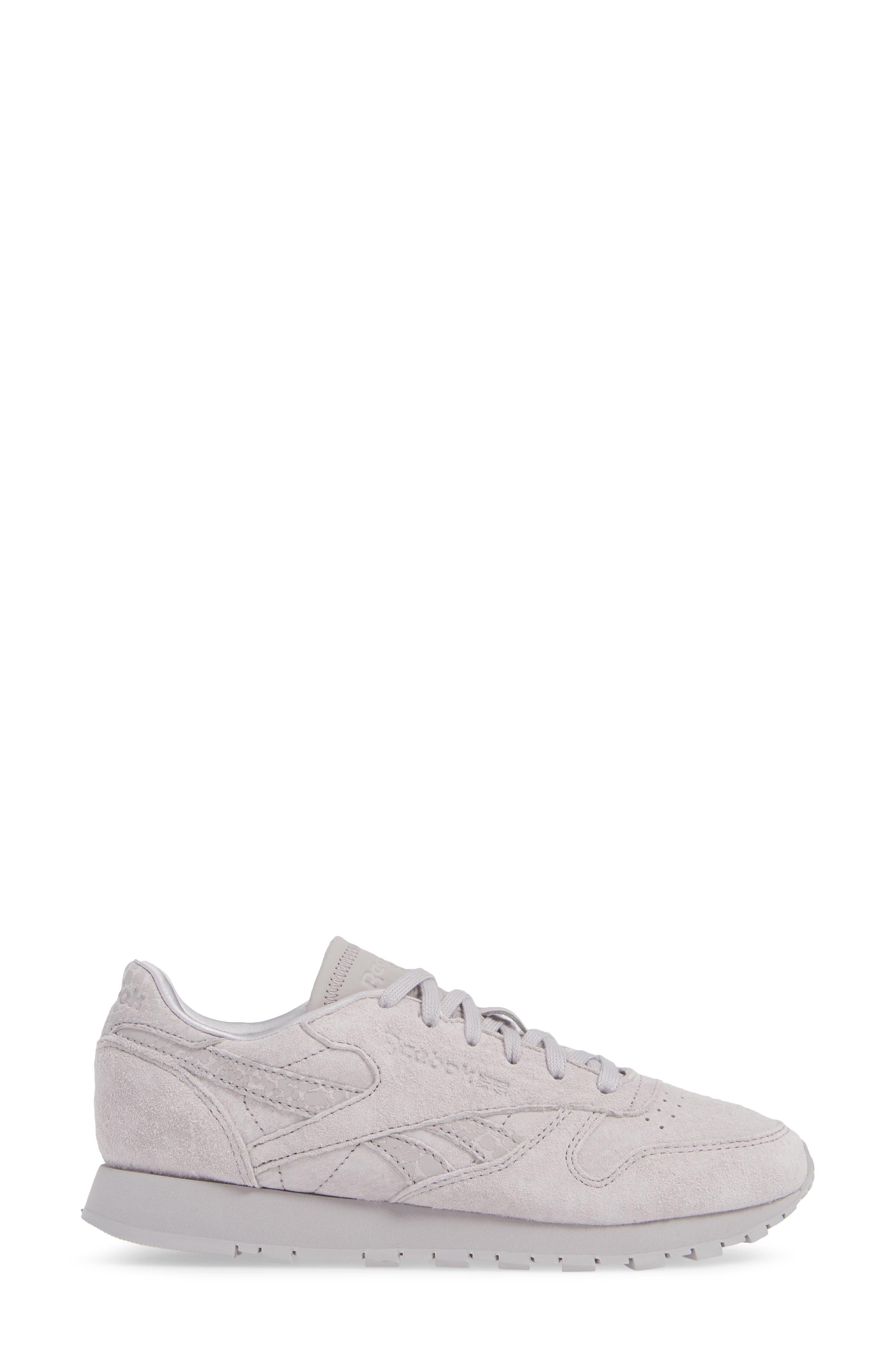 REEBOK,                             Classic Leather Sneaker,                             Alternate thumbnail 3, color,                             WHISPER GREY