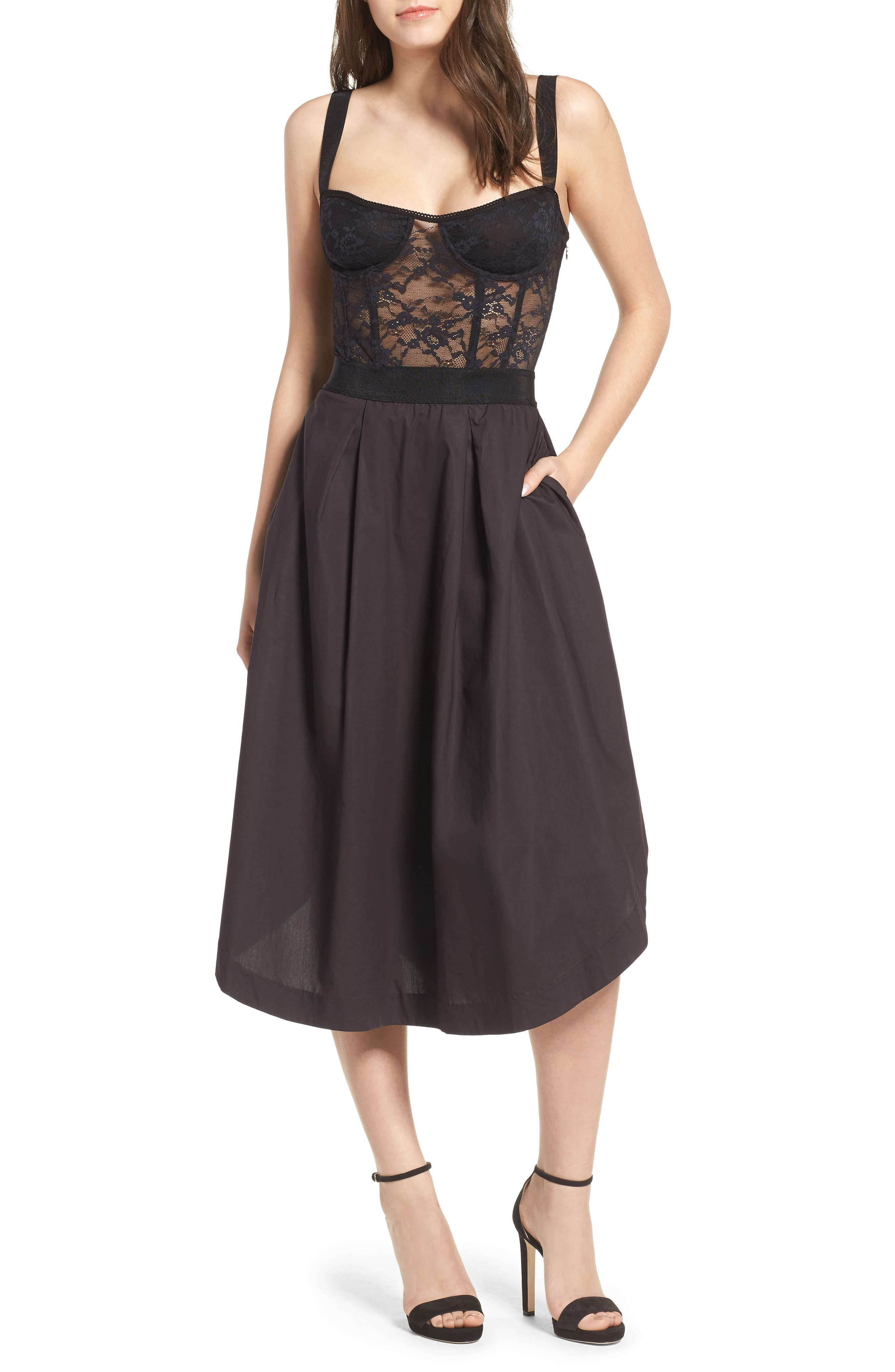 Lace Corset Midi Dress,                             Main thumbnail 1, color,                             001
