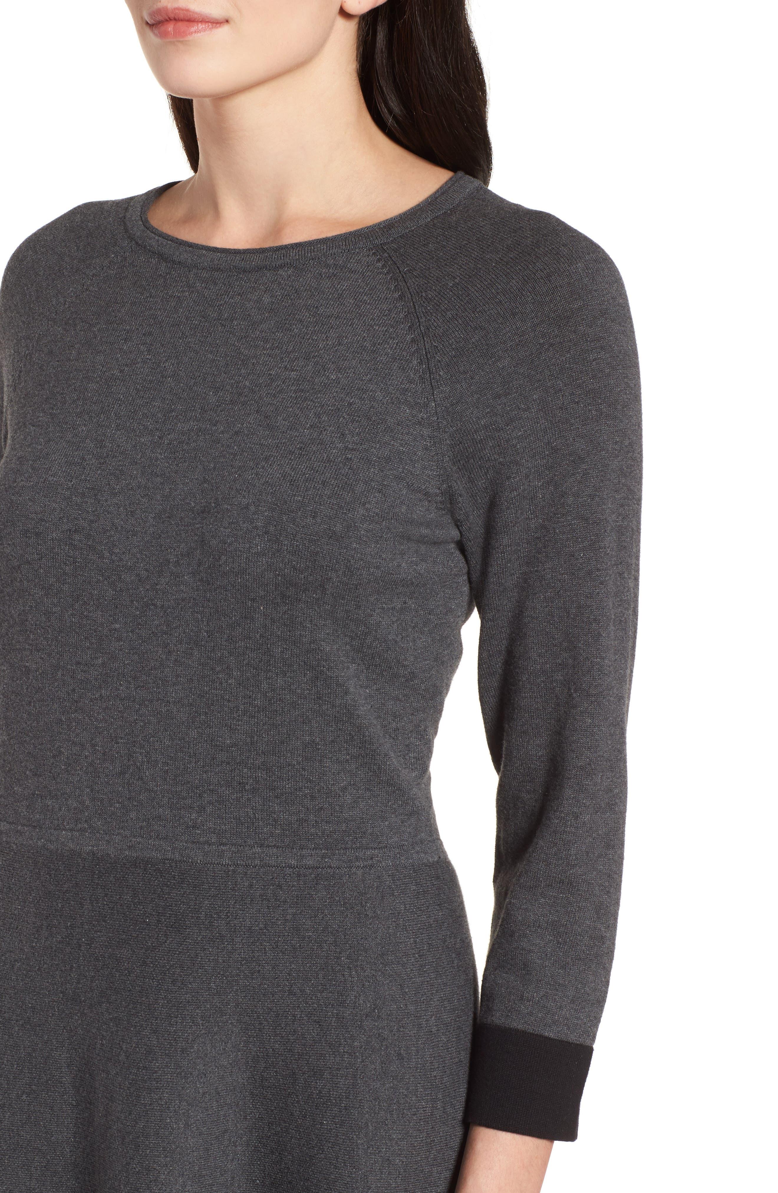 Fit & Flare Sweater Dress,                             Alternate thumbnail 4, color,                             023