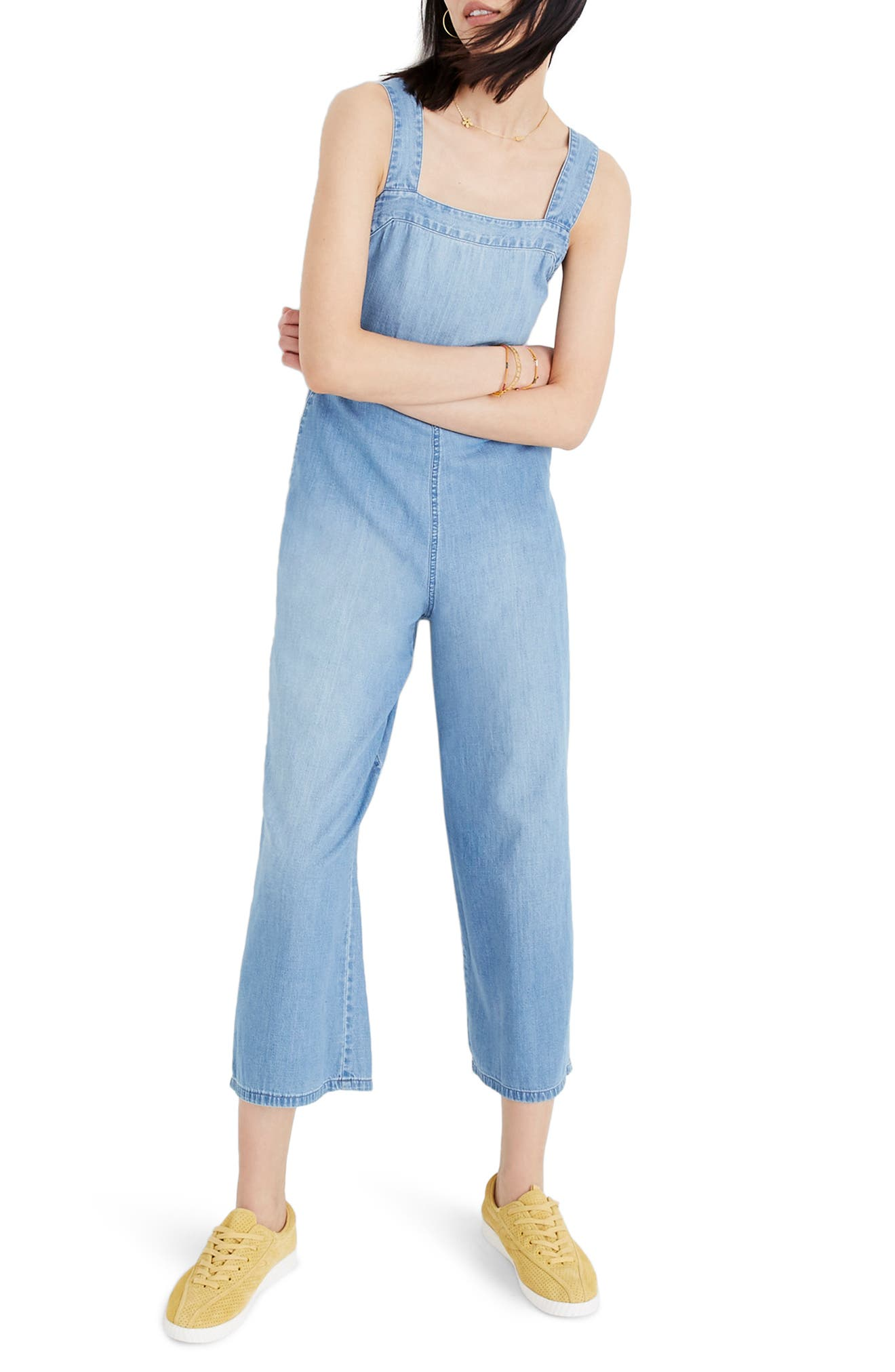 Apron Bow-Back Denim Jumpsuit,                         Main,                         color, RHONDA WASH