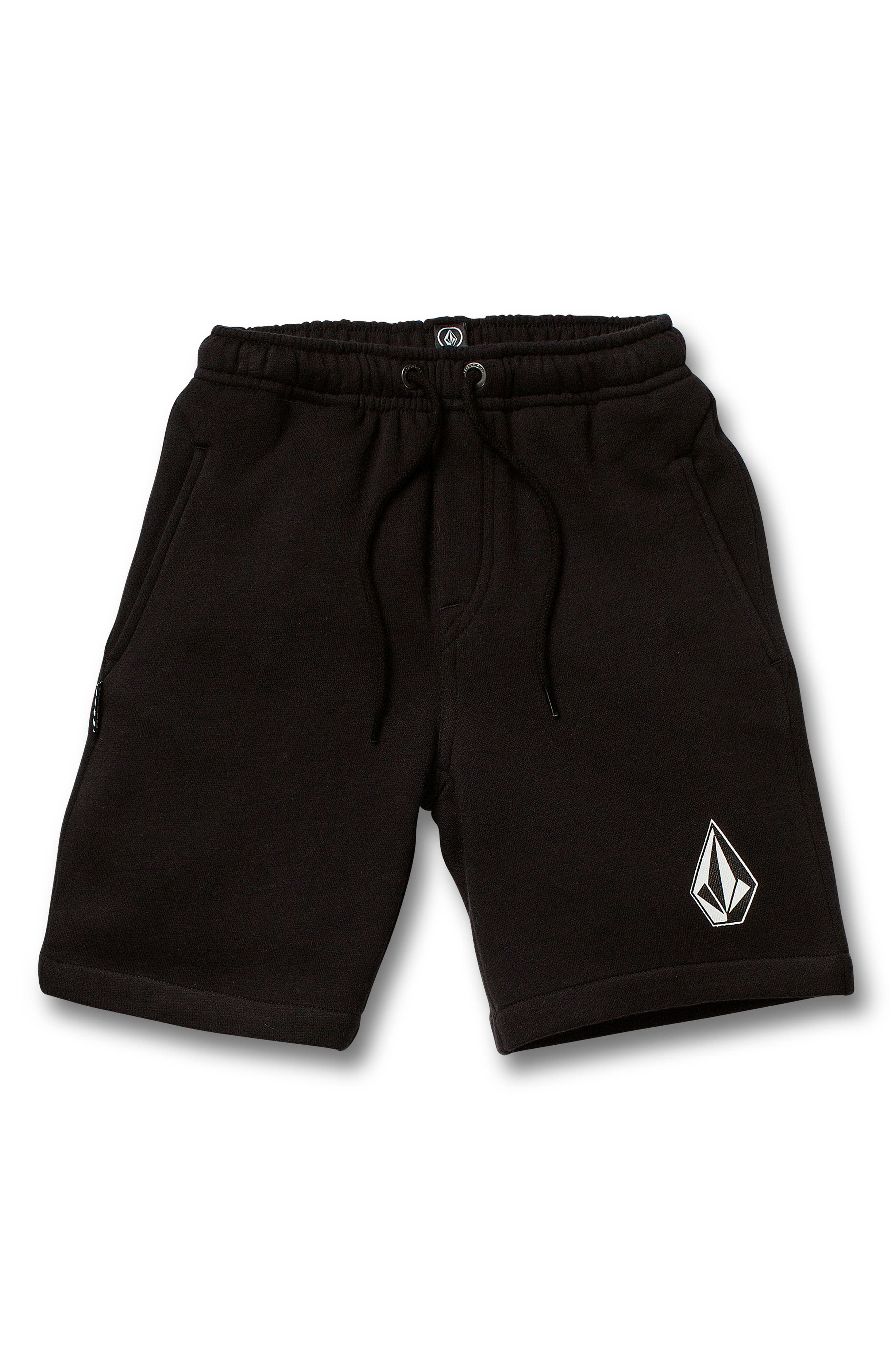 Boys Volcom Deadly Stones Fleece Shorts Size 7  Black
