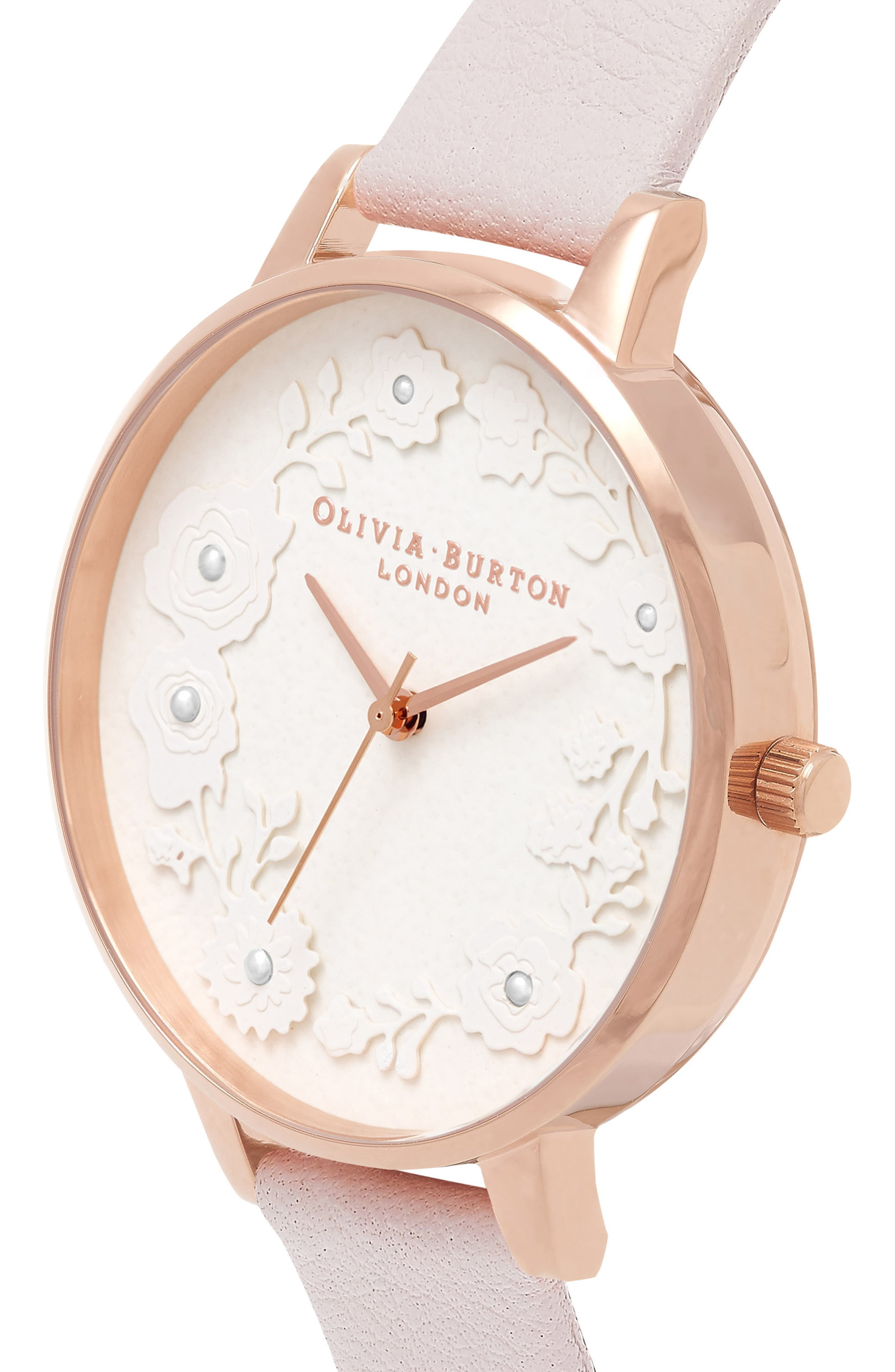 Artisan Dial Leather Strap Watch, 38mm,                             Alternate thumbnail 4, color,                             BLOSSOM/ WHITE/ ROSE GOLD