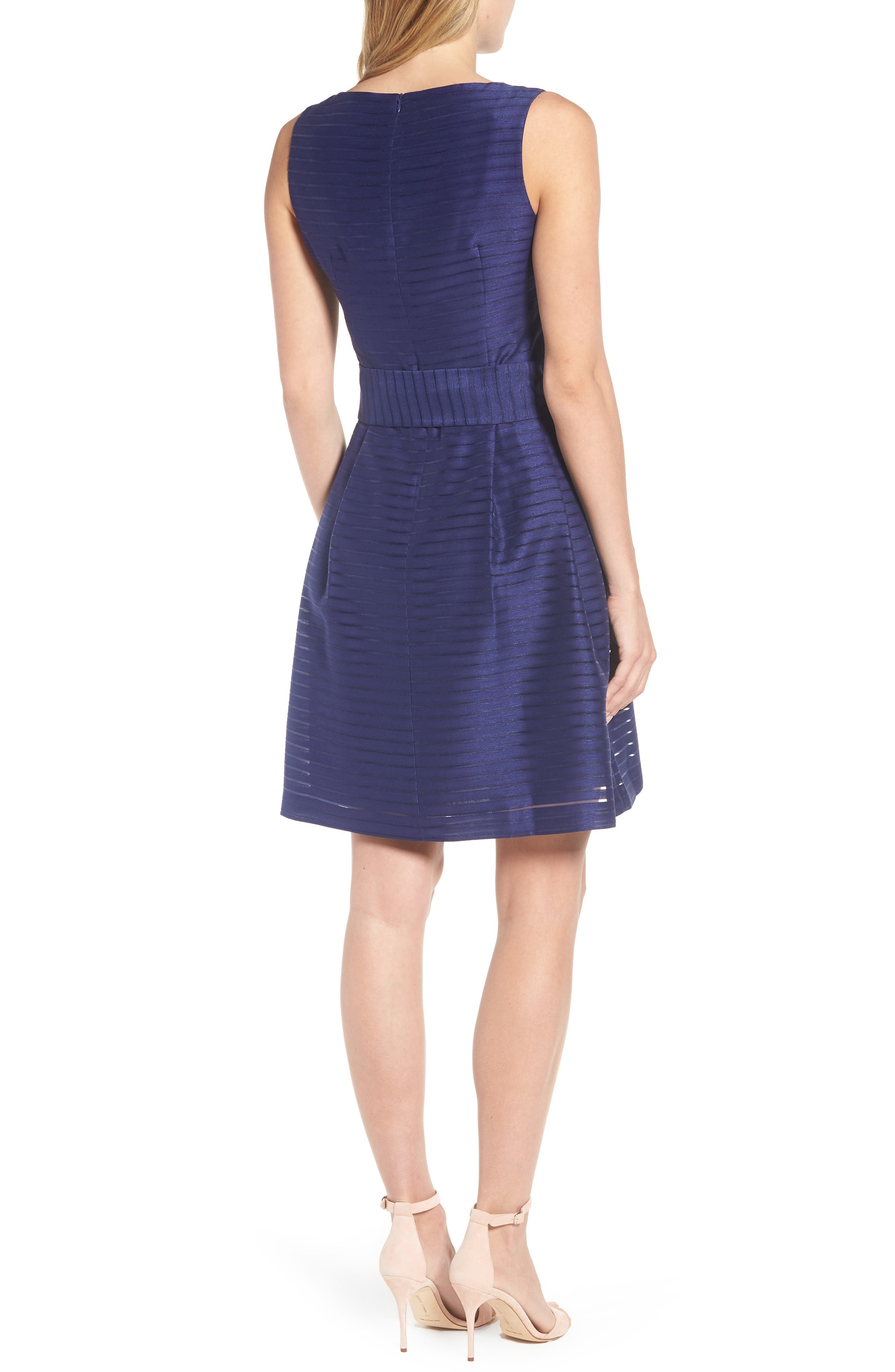 Shadow Stripe Fit & Flare Dress,                             Alternate thumbnail 6, color,