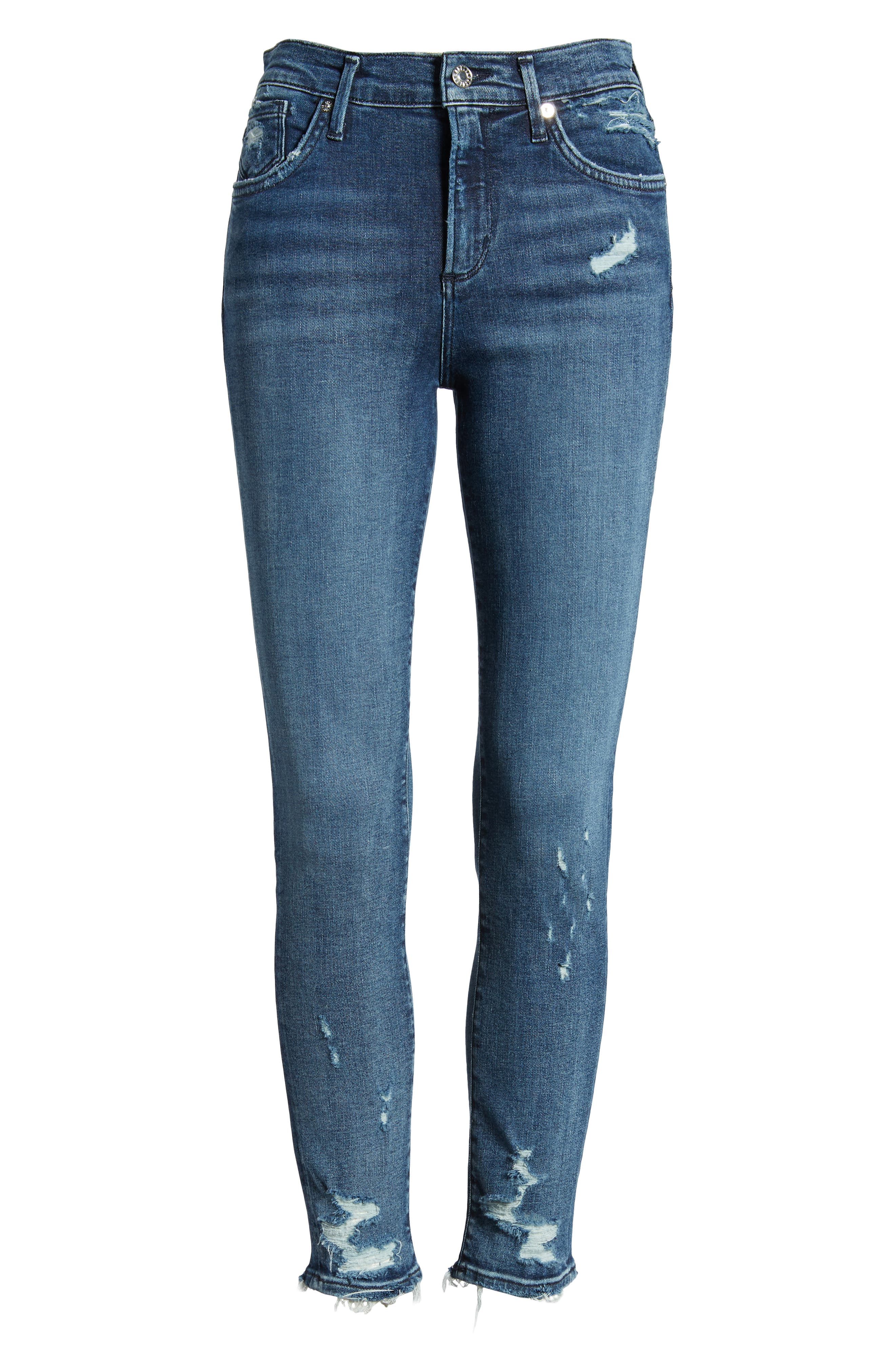 Sophie Distressed High Waist Crop Skinny Jeans,                             Alternate thumbnail 7, color,                             425