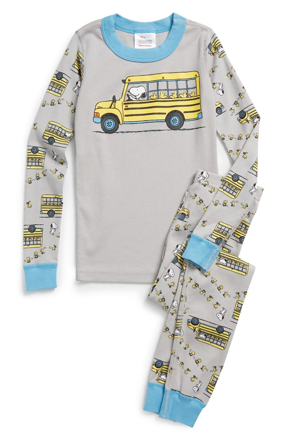 HANNA ANDERSSON 'Peanuts<sup>®</sup> - Snoopy Bus' Organic Cotton Two-Piece Fitted Pajamas, Main, color, 026