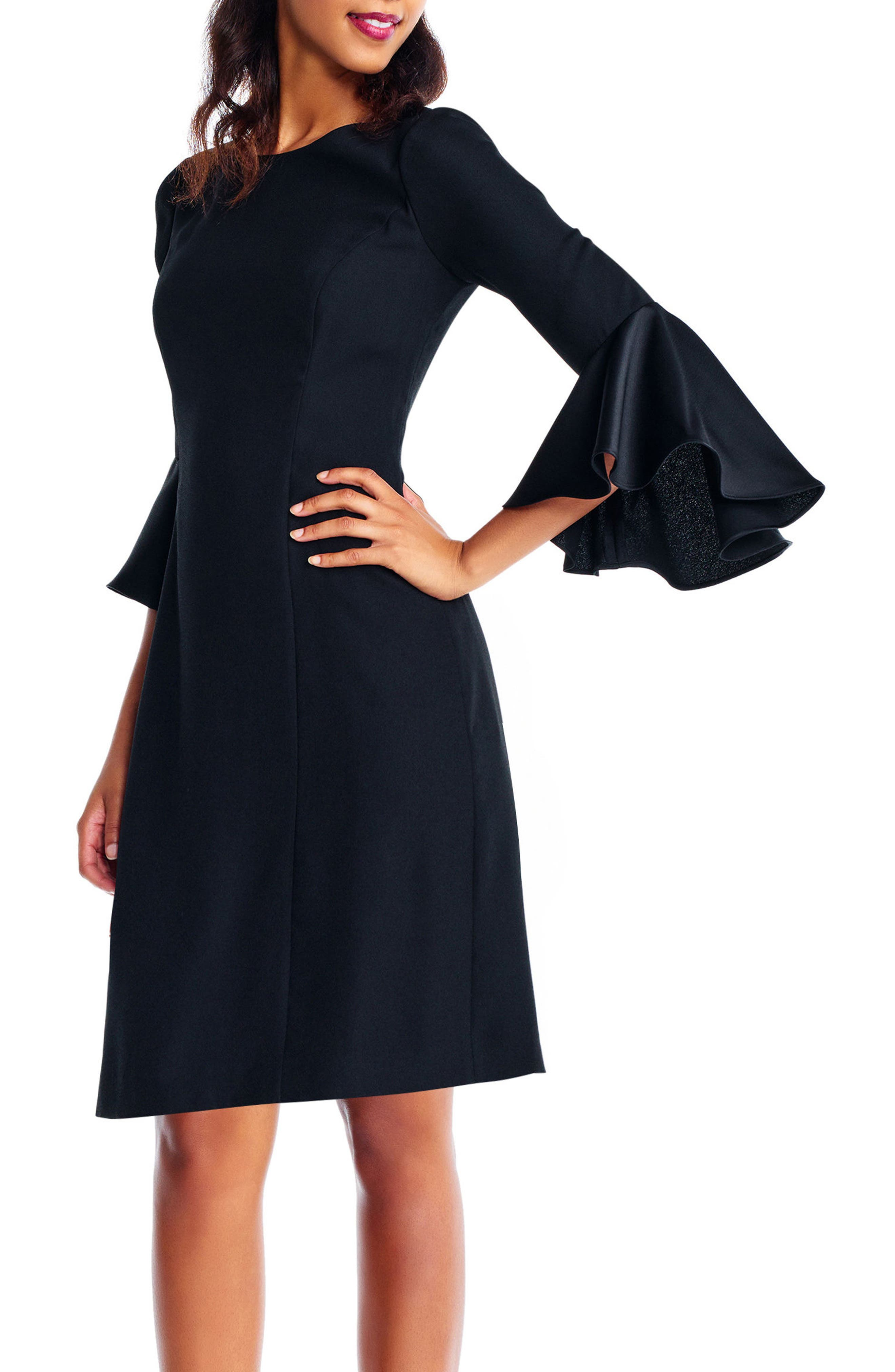 Satin Ruffle Sleeve A-Line Dress,                             Alternate thumbnail 3, color,                             002