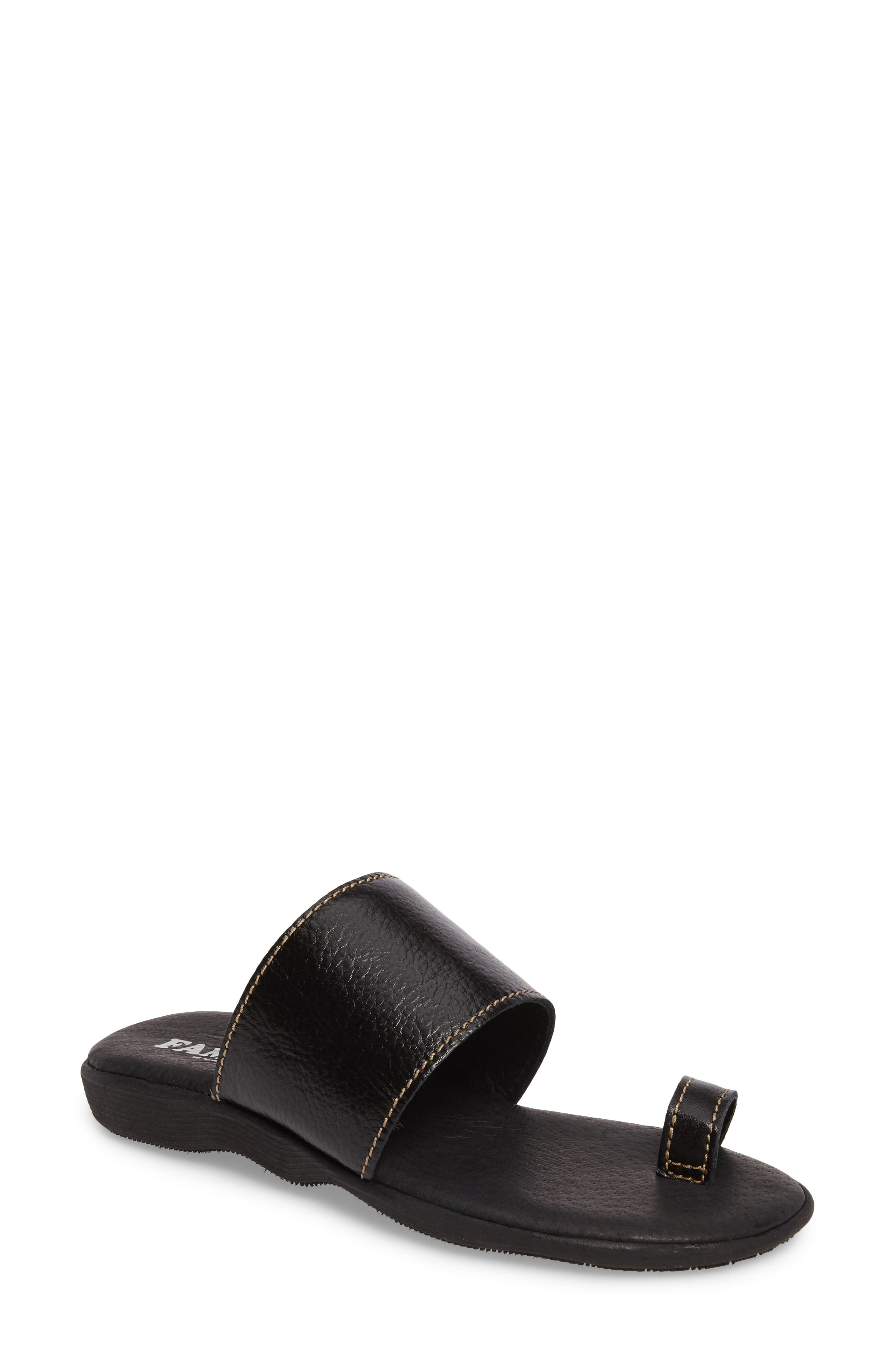 Band & Deliver Toe Loop Slide Sandal,                         Main,                         color, COAL LEATHER