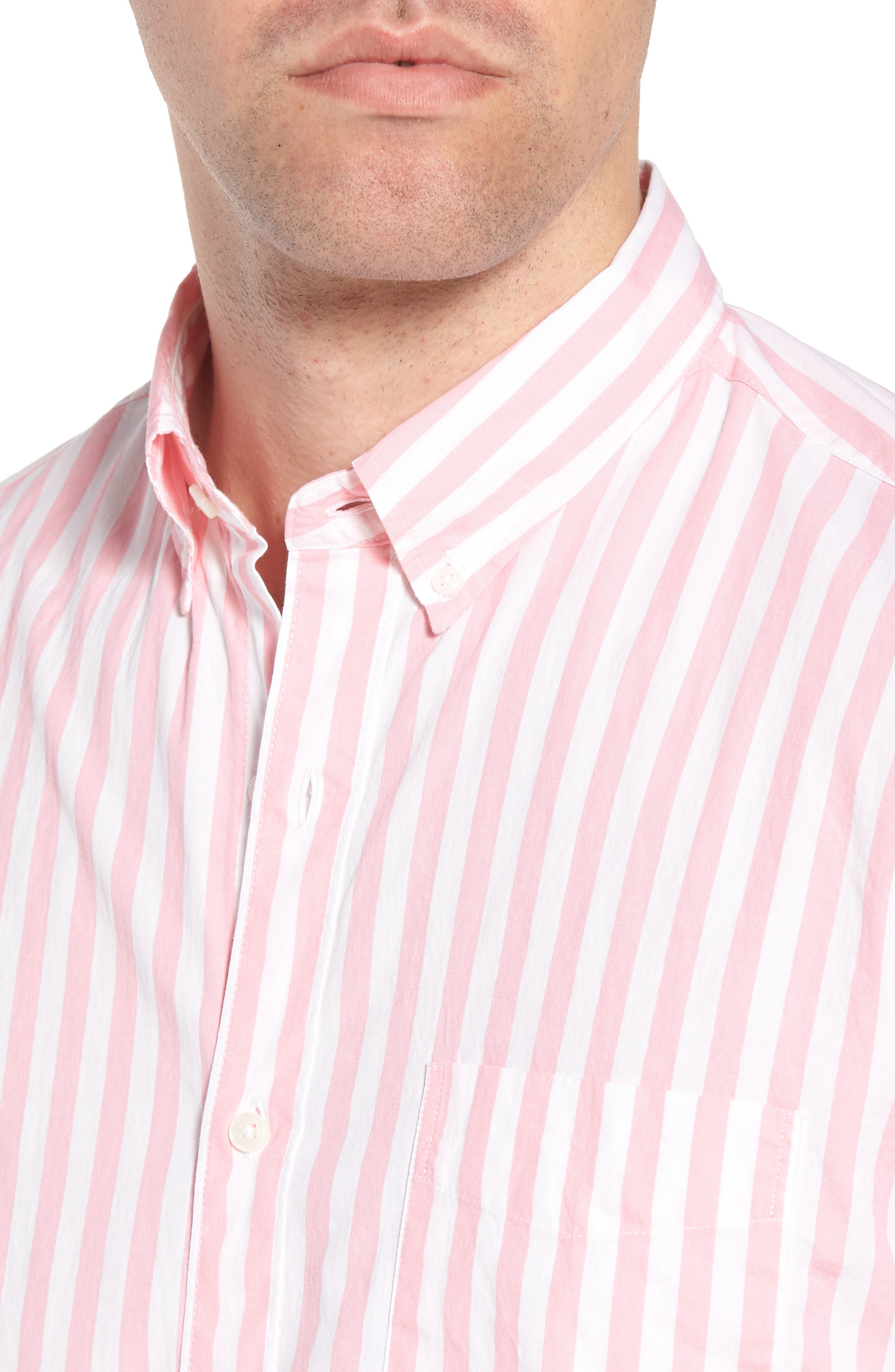 Slim Fit Stretch Secret Wash Stripe Sport Shirt,                             Alternate thumbnail 4, color,
