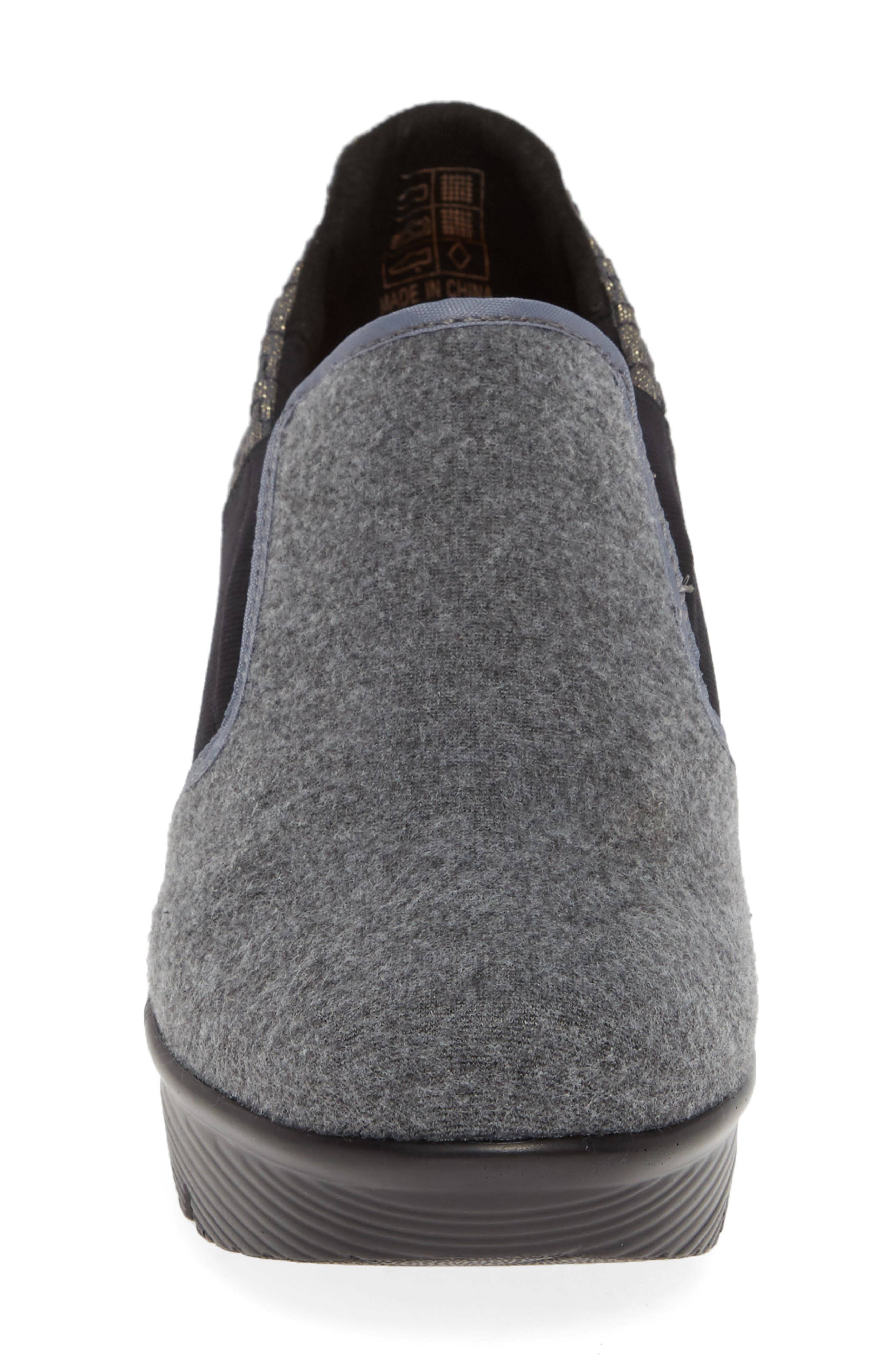 Bari Wedge,                             Alternate thumbnail 4, color,                             GREY SHIMMER LEATHER