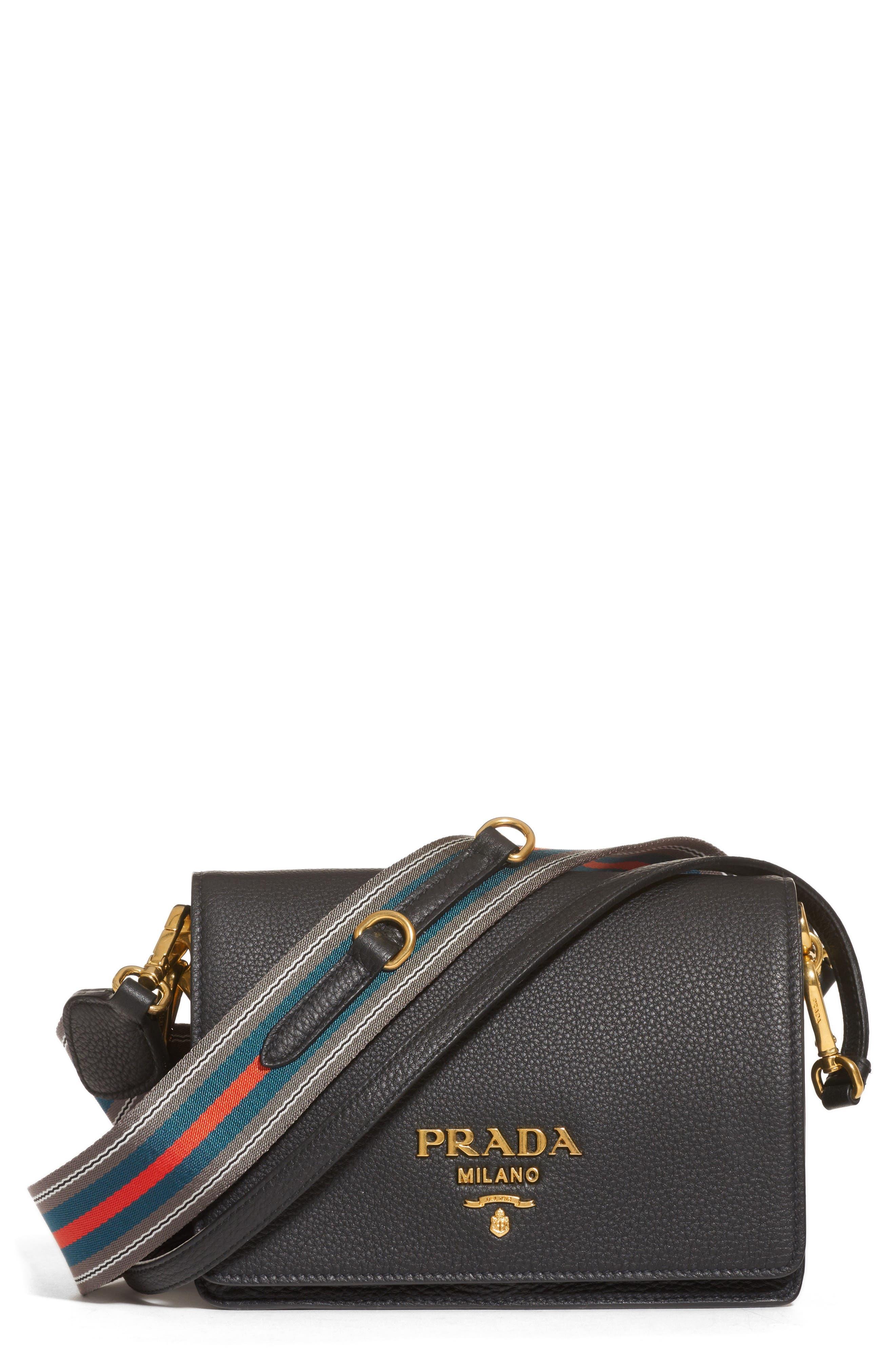 Vitello Daino Double Compartment Leather Shoulder Bag, Main, color, 001