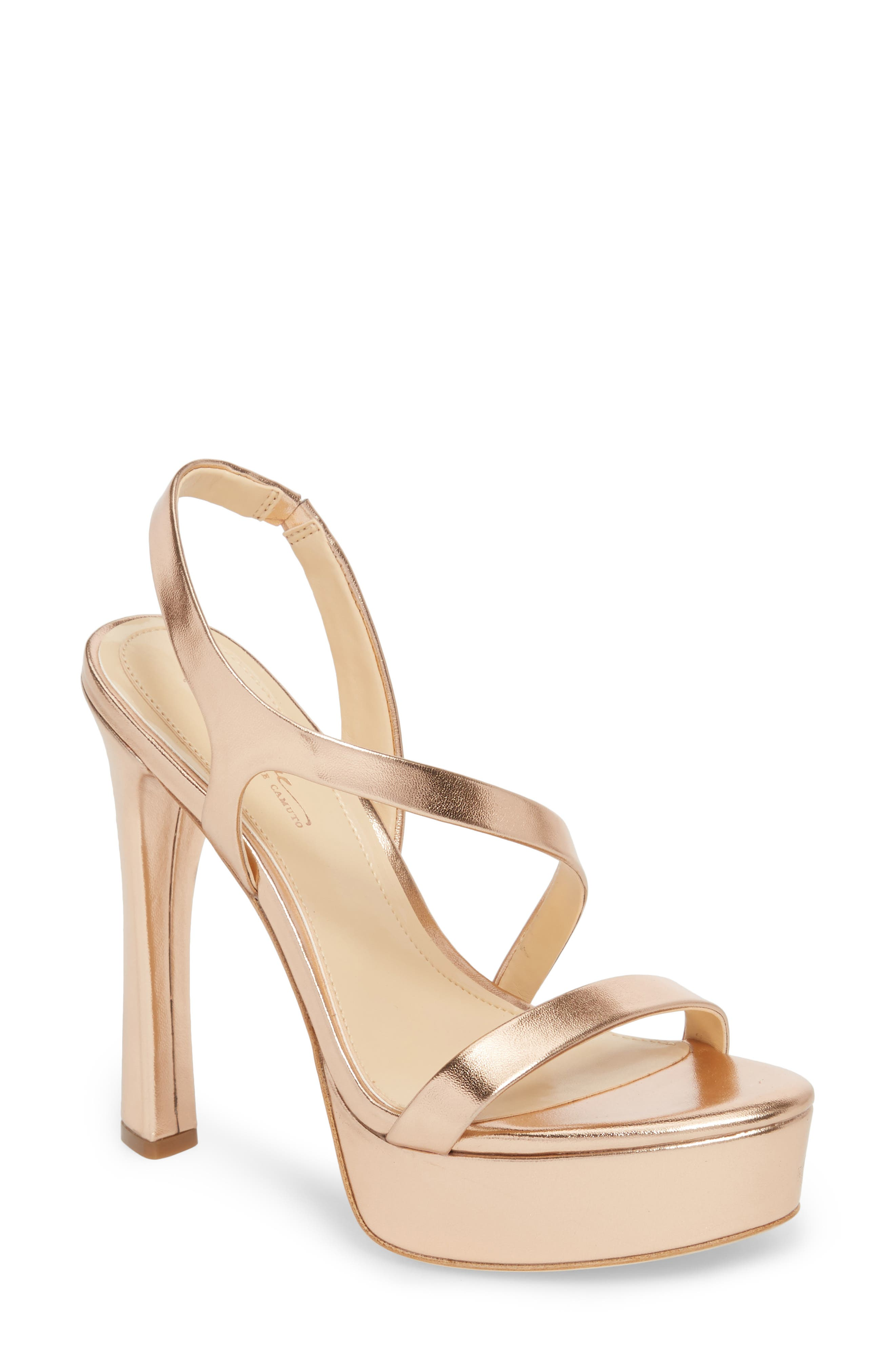 Piera Platform Sandal,                         Main,                         color, ROSE GOLD LEATHER