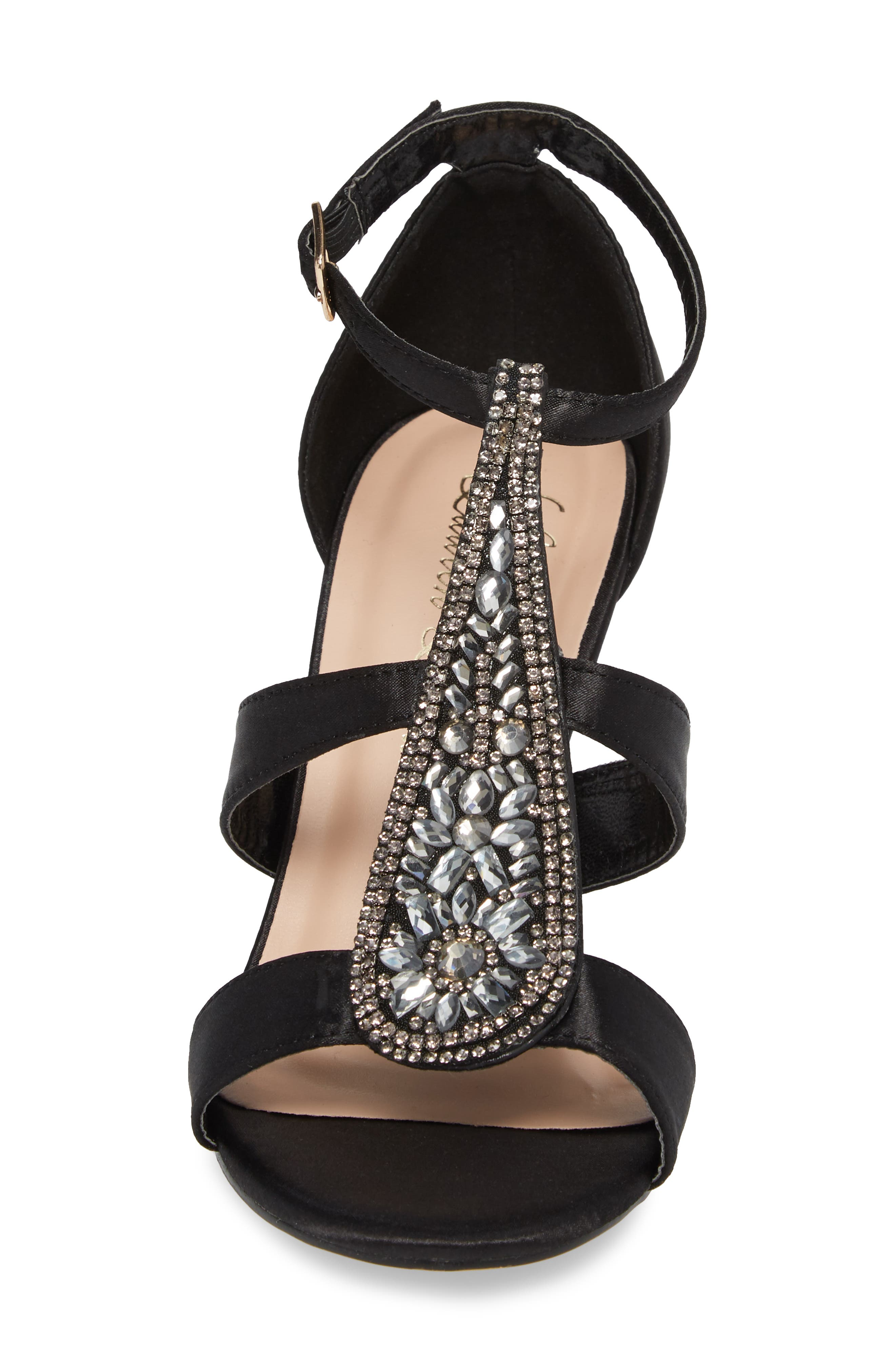 Ritz Crystal Embellished Sandal,                             Alternate thumbnail 4, color,                             BLACK FABRIC
