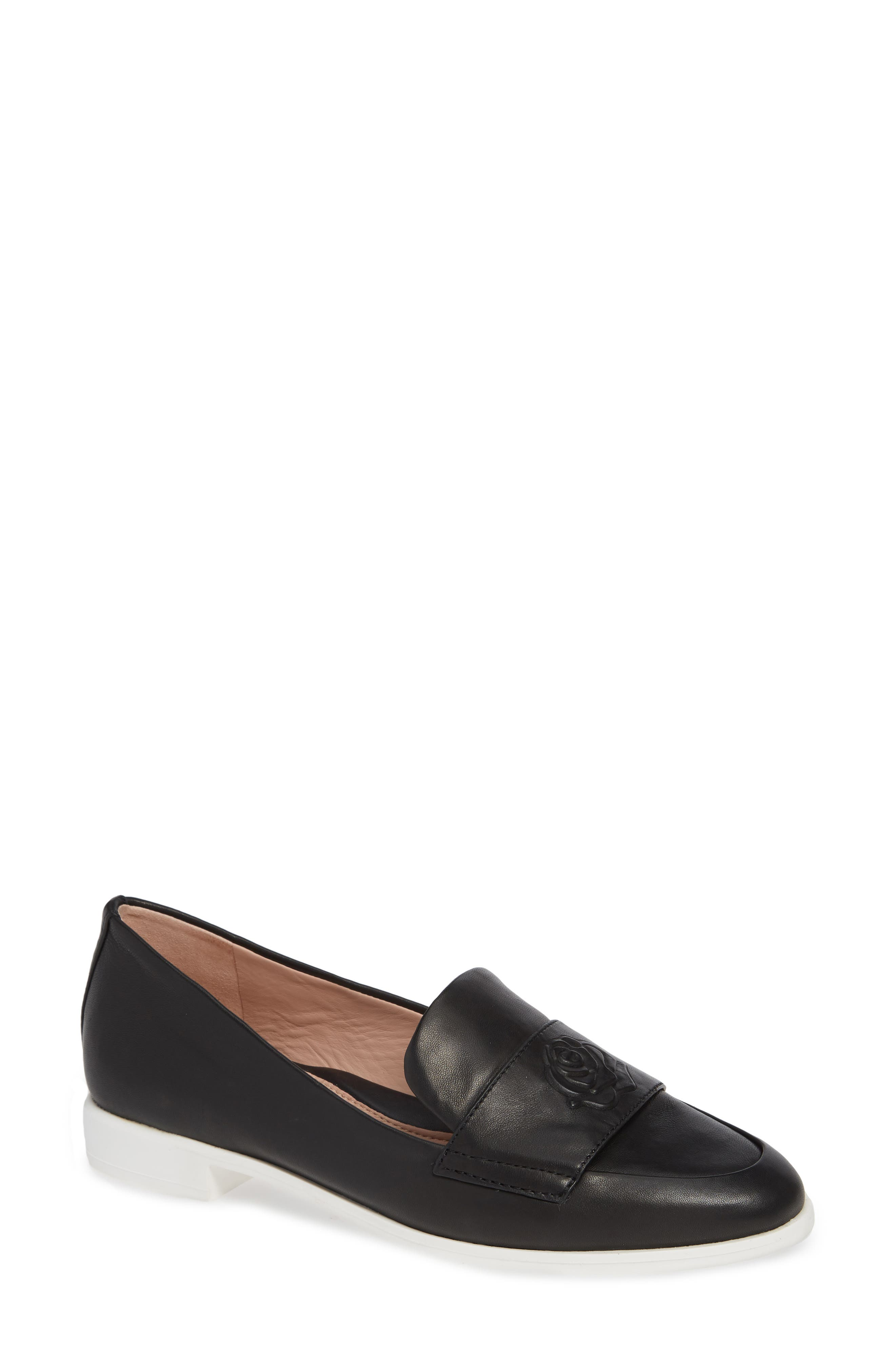TARYN ROSE Blossom Slip-On Loafers in Black Leather