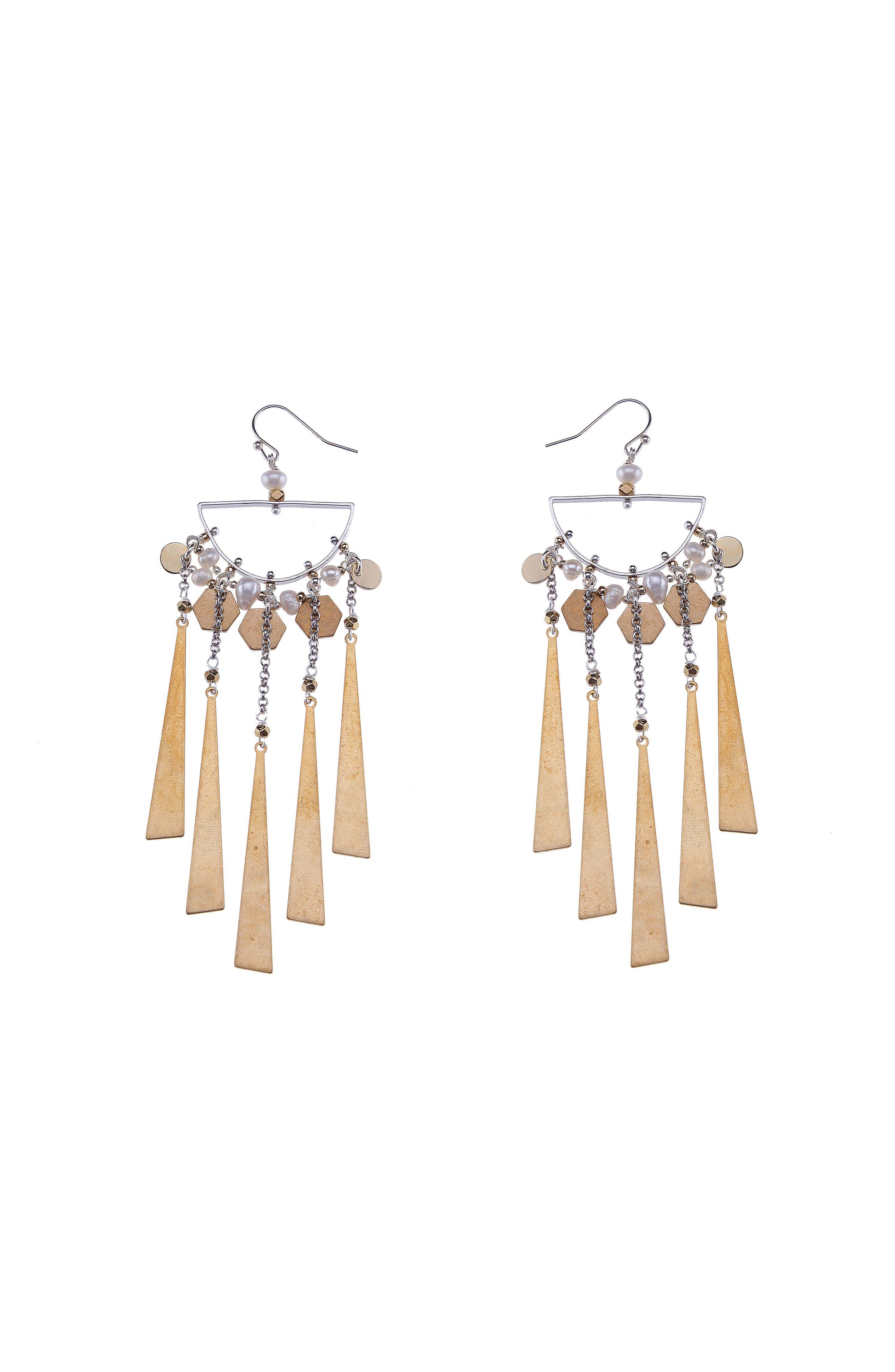 Freshwater Pearl & Metal Fringe Statement Earrings,                             Main thumbnail 1, color,                             710