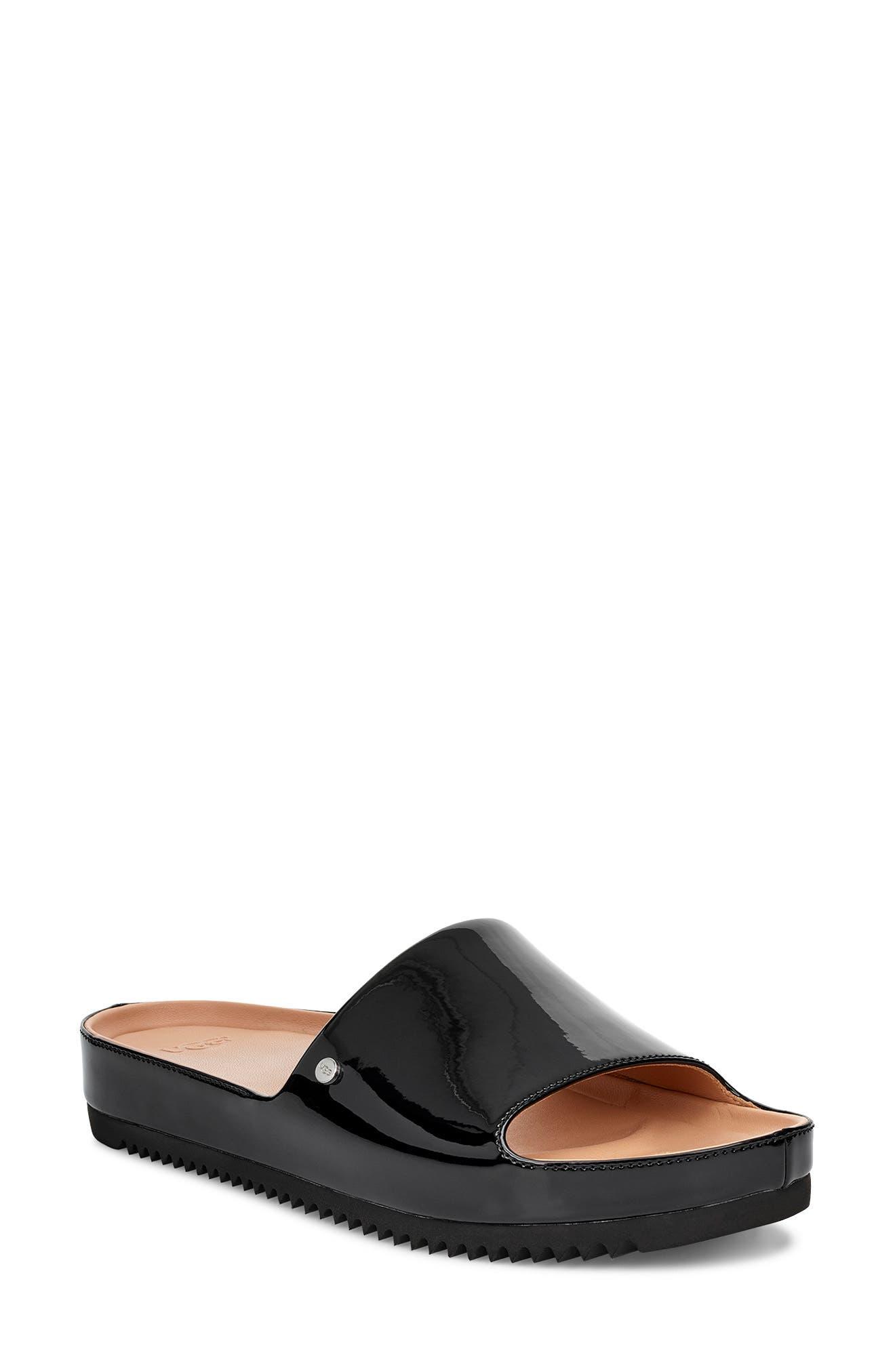 Jane Platform Slide Sandal, Main, color, BLACK PATENT LEATHER