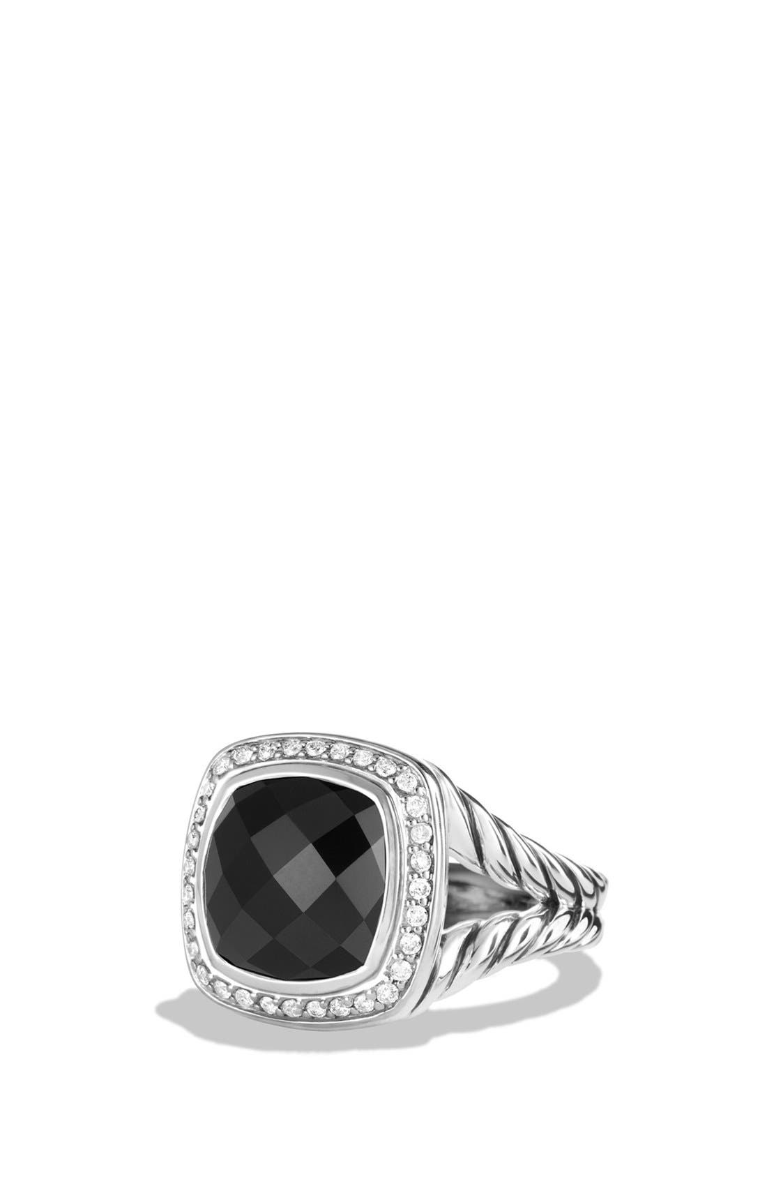'Albion' Ring with Semiprecious Stone and Diamonds,                             Main thumbnail 1, color,                             BLACK ONYX