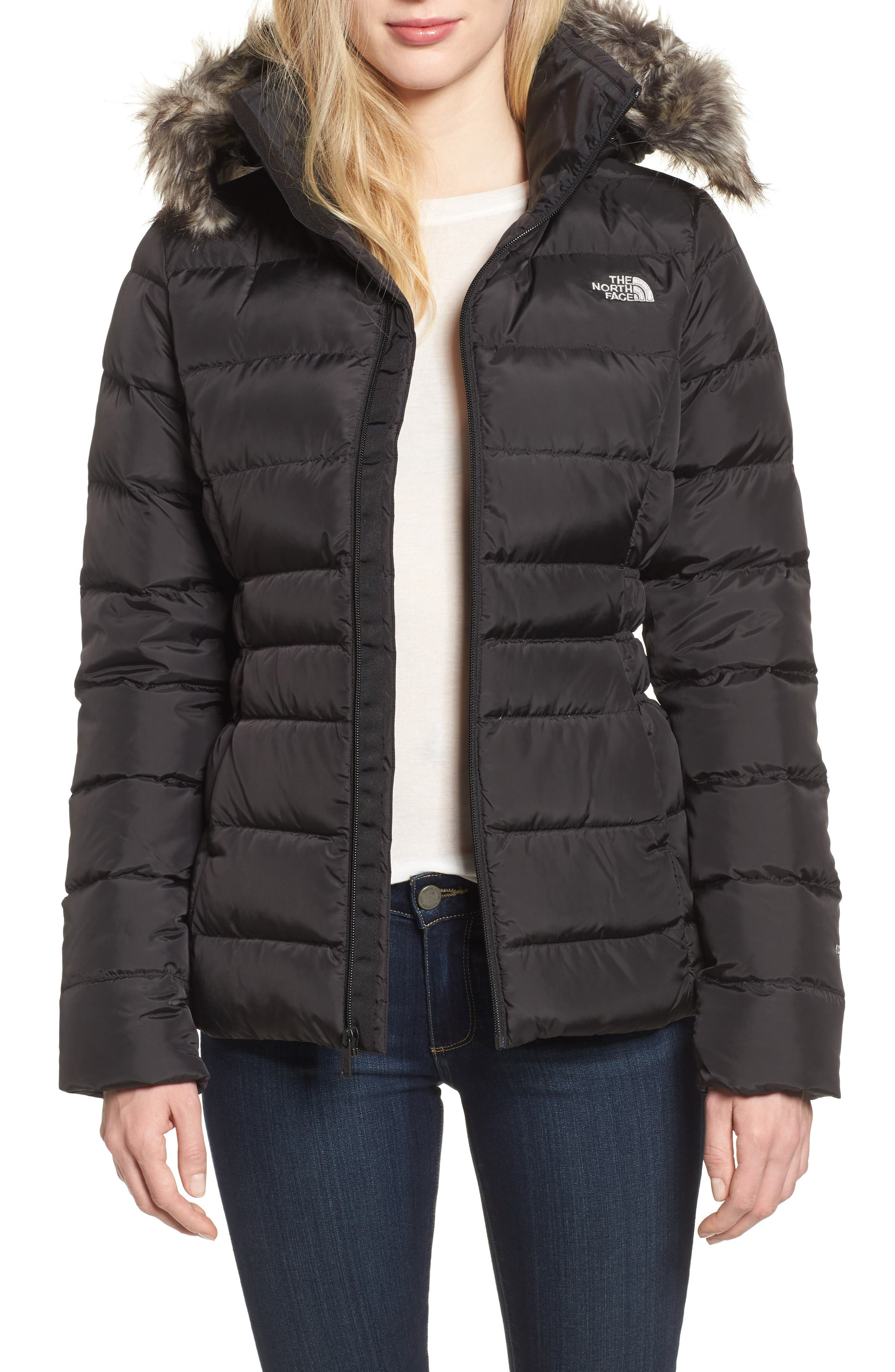 Gotham II Hooded Water Resistant 550-Fill-Power Down Jacket with Faux Fur Trim,                         Main,                         color, 001