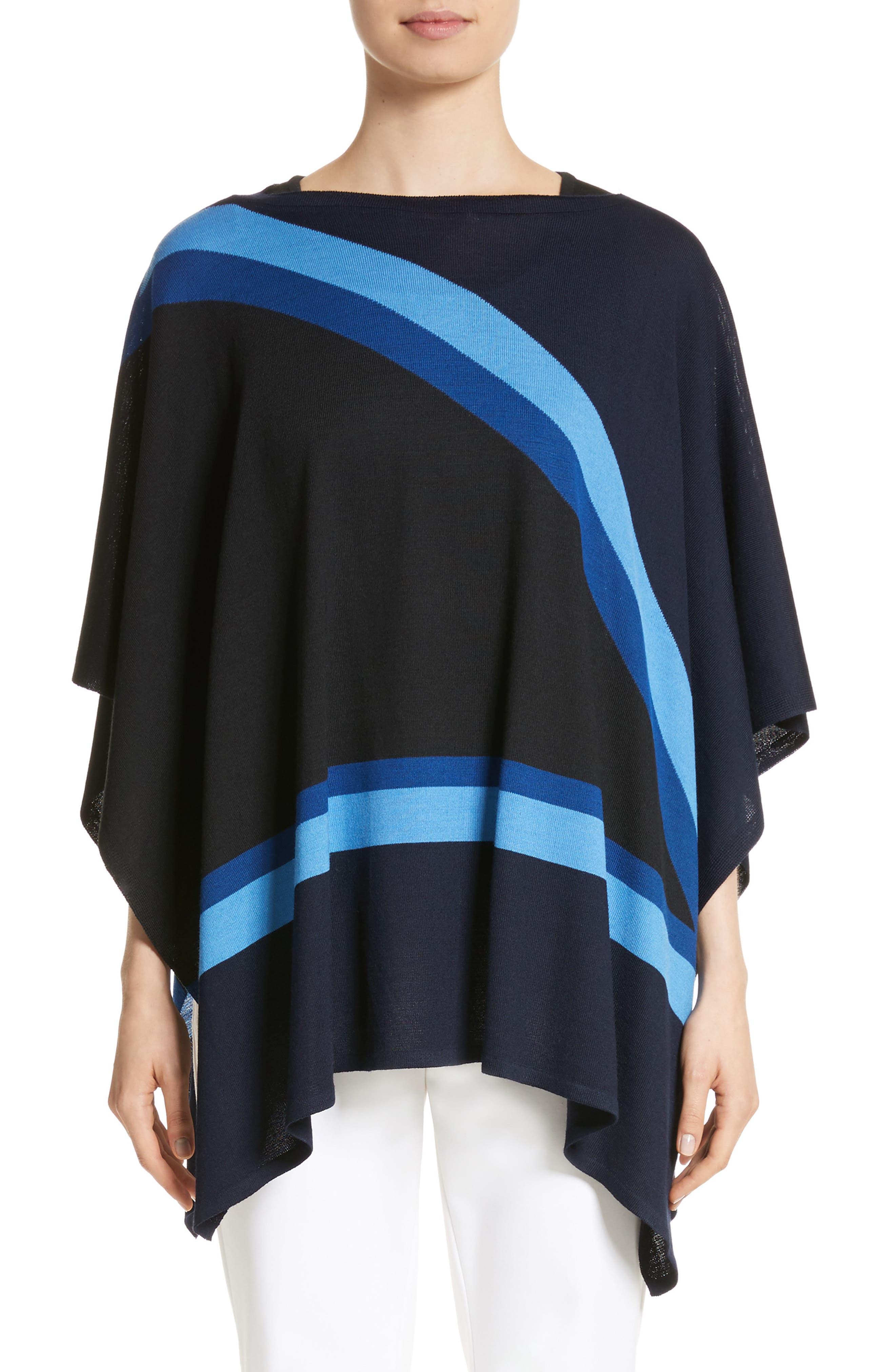 Intarsia Knit Jersey Poncho,                             Main thumbnail 1, color,                             410