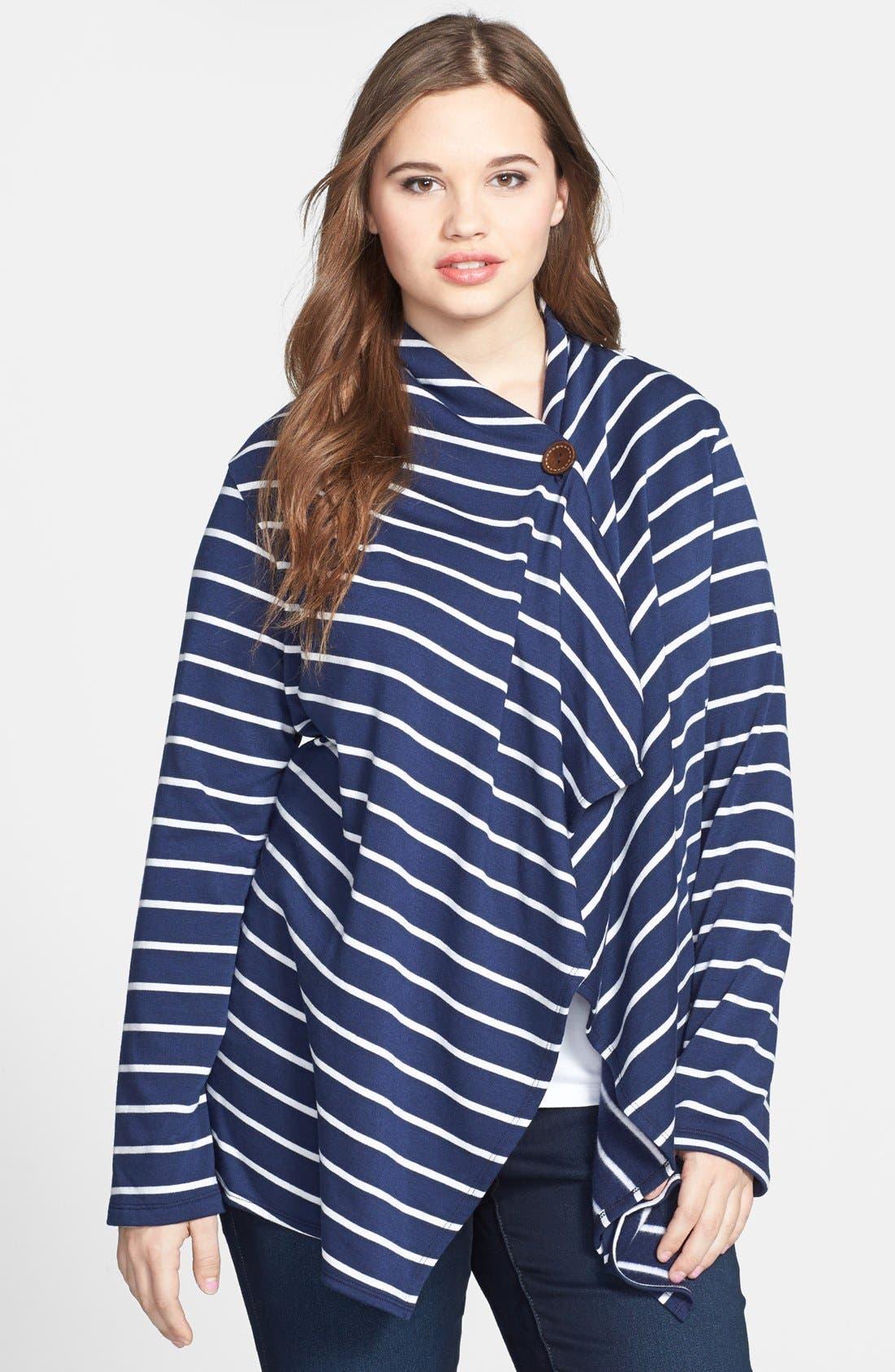 Stripe Fleece Wrap,                             Main thumbnail 4, color,