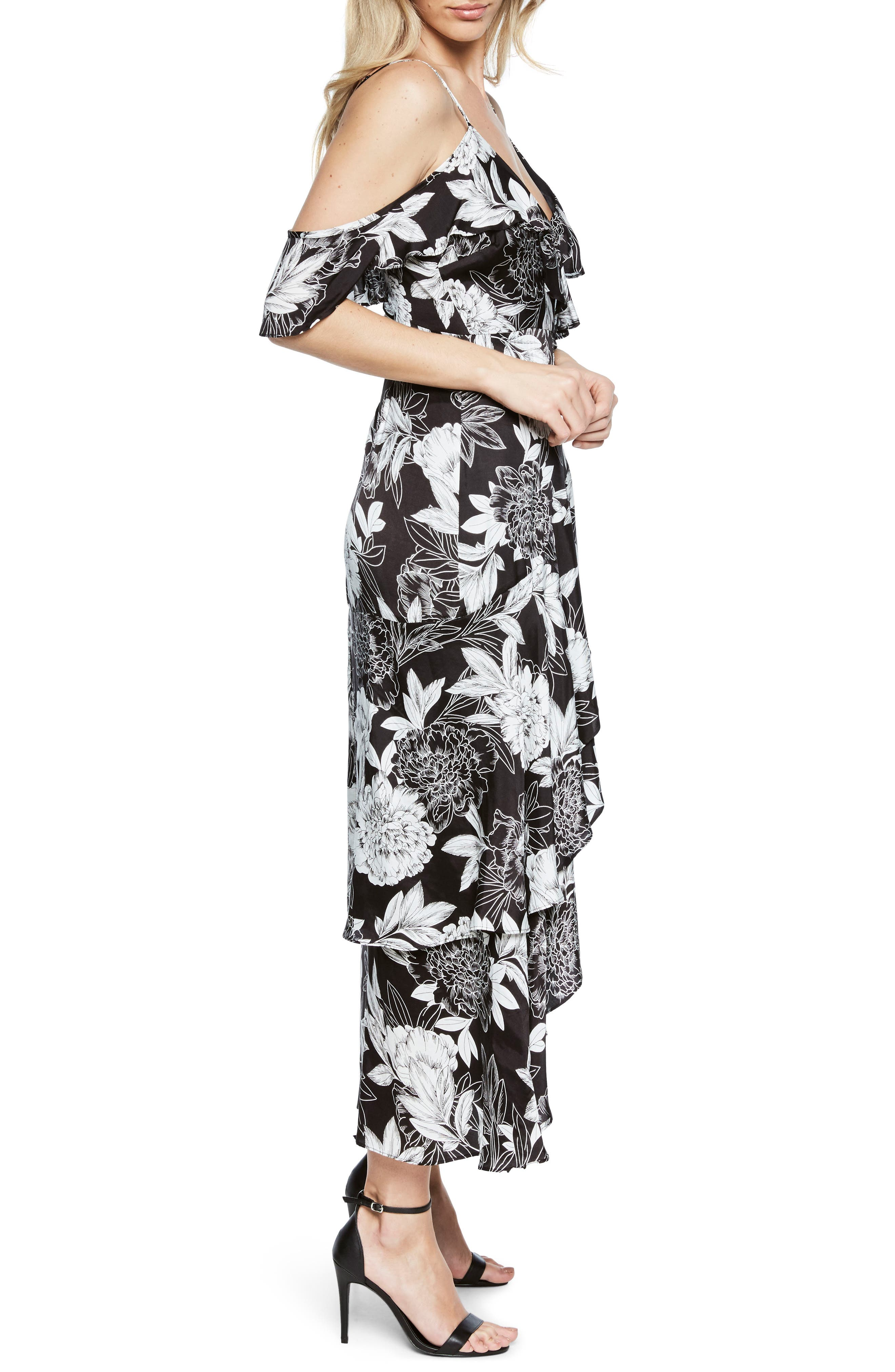 Frankie Frill Floral Dress,                             Alternate thumbnail 3, color,                             001