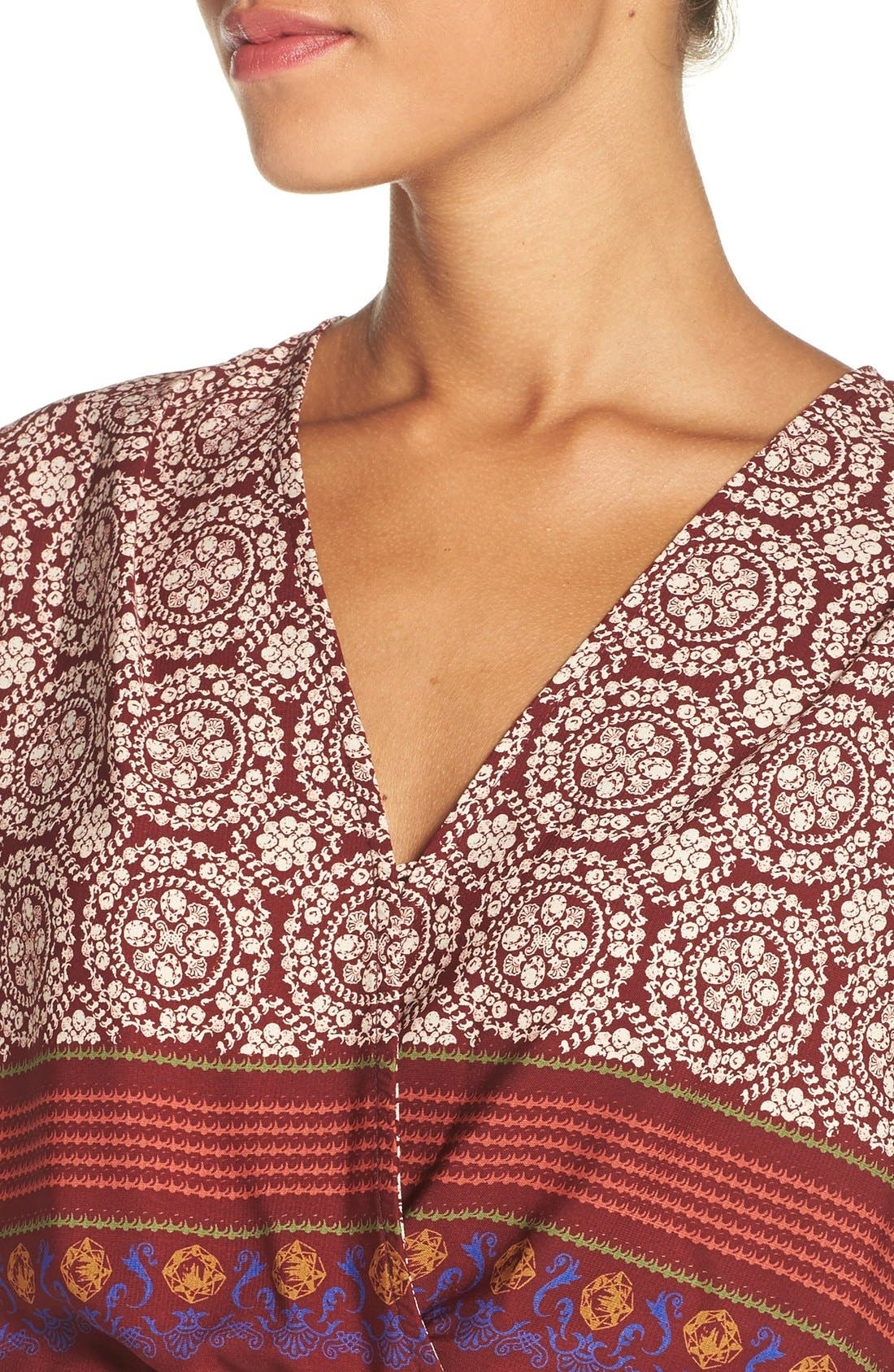 'Nora' Print High/Low Maxi Dress,                             Alternate thumbnail 4, color,                             939