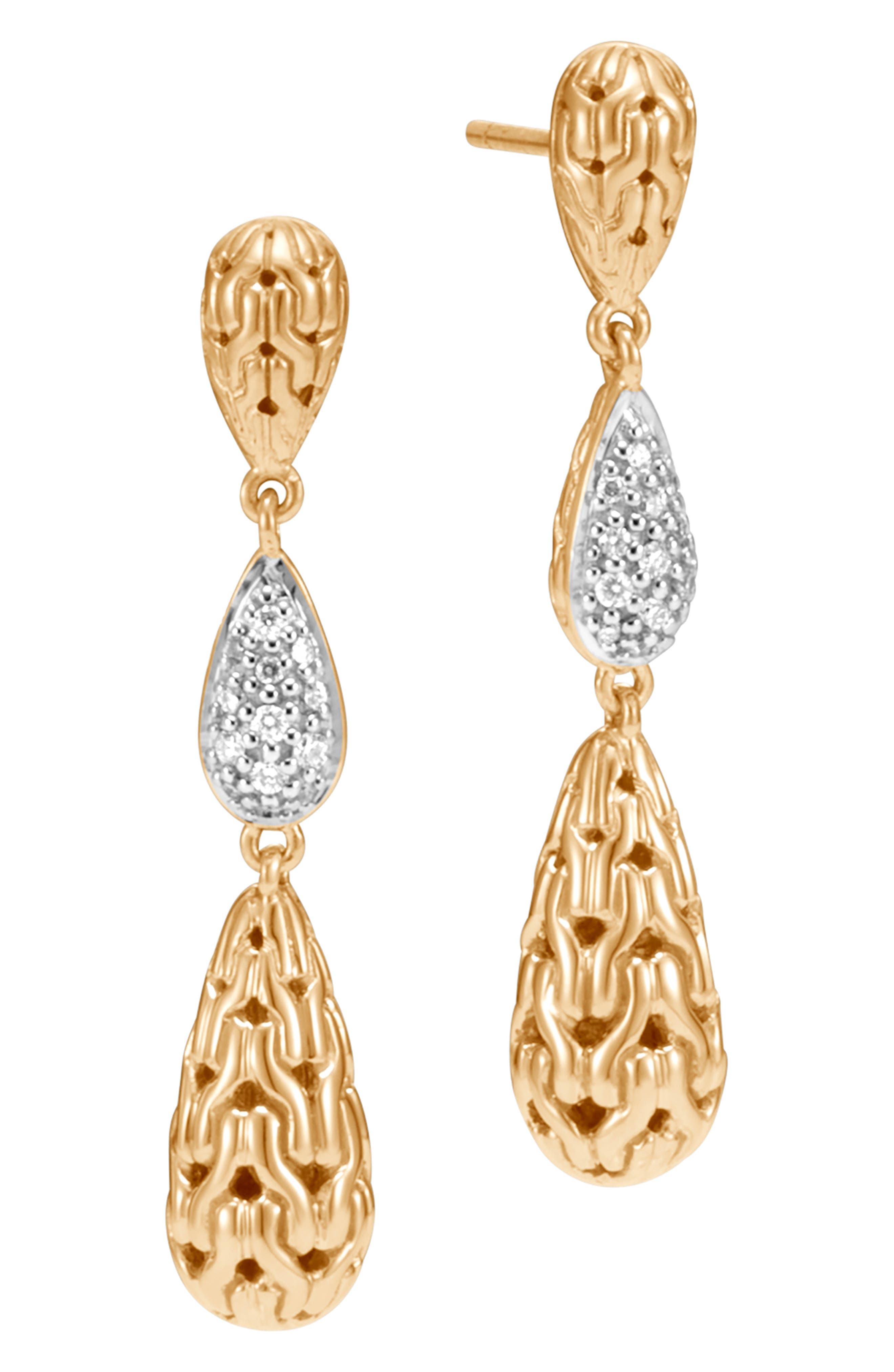 Classic Chain Gold Long Drop Earrings with Diamonds,                             Main thumbnail 1, color,                             GOLD/ DIAMOND