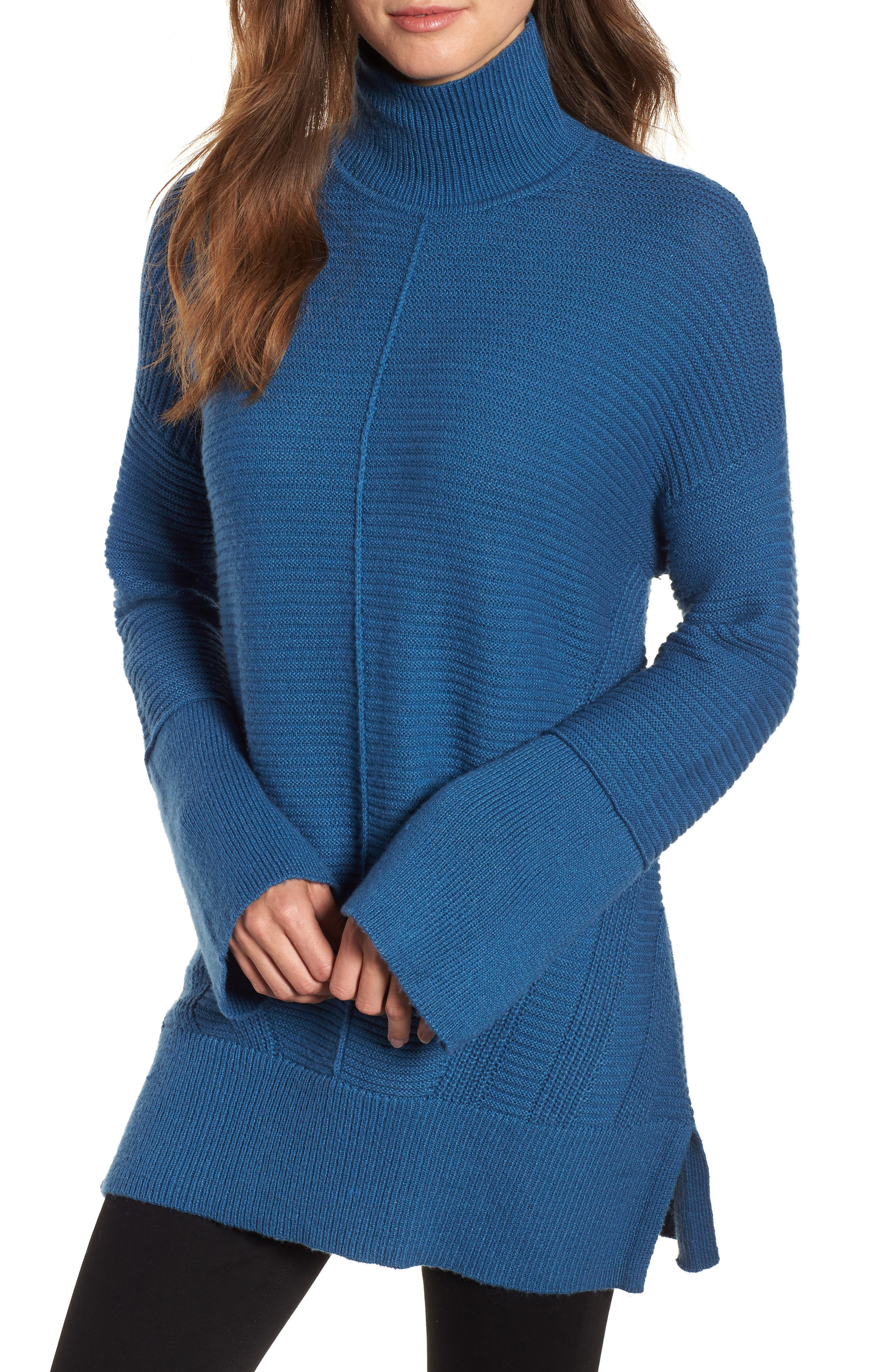 Ribbed Turtleneck Tunic Sweater,                             Main thumbnail 1, color,                             BLUE DARK