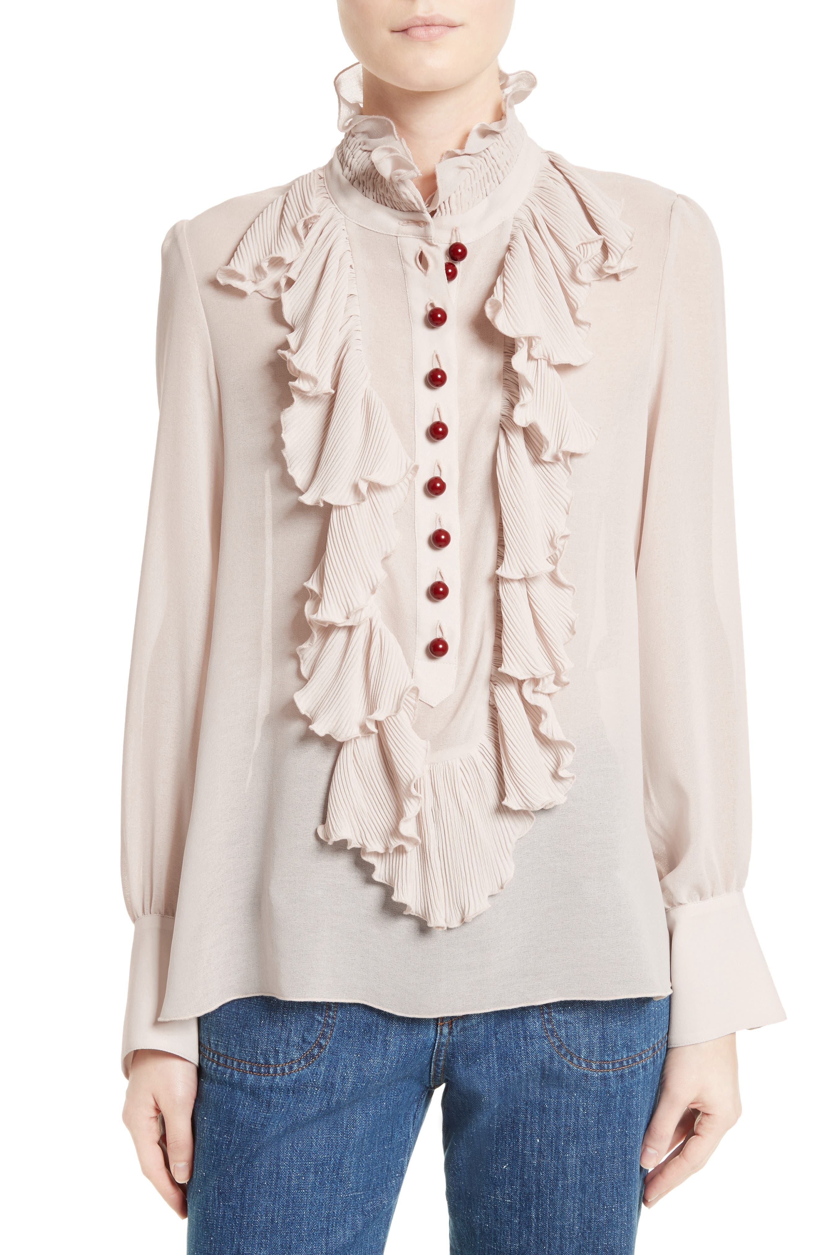 Ruffle Front Blouse,                         Main,                         color, 650