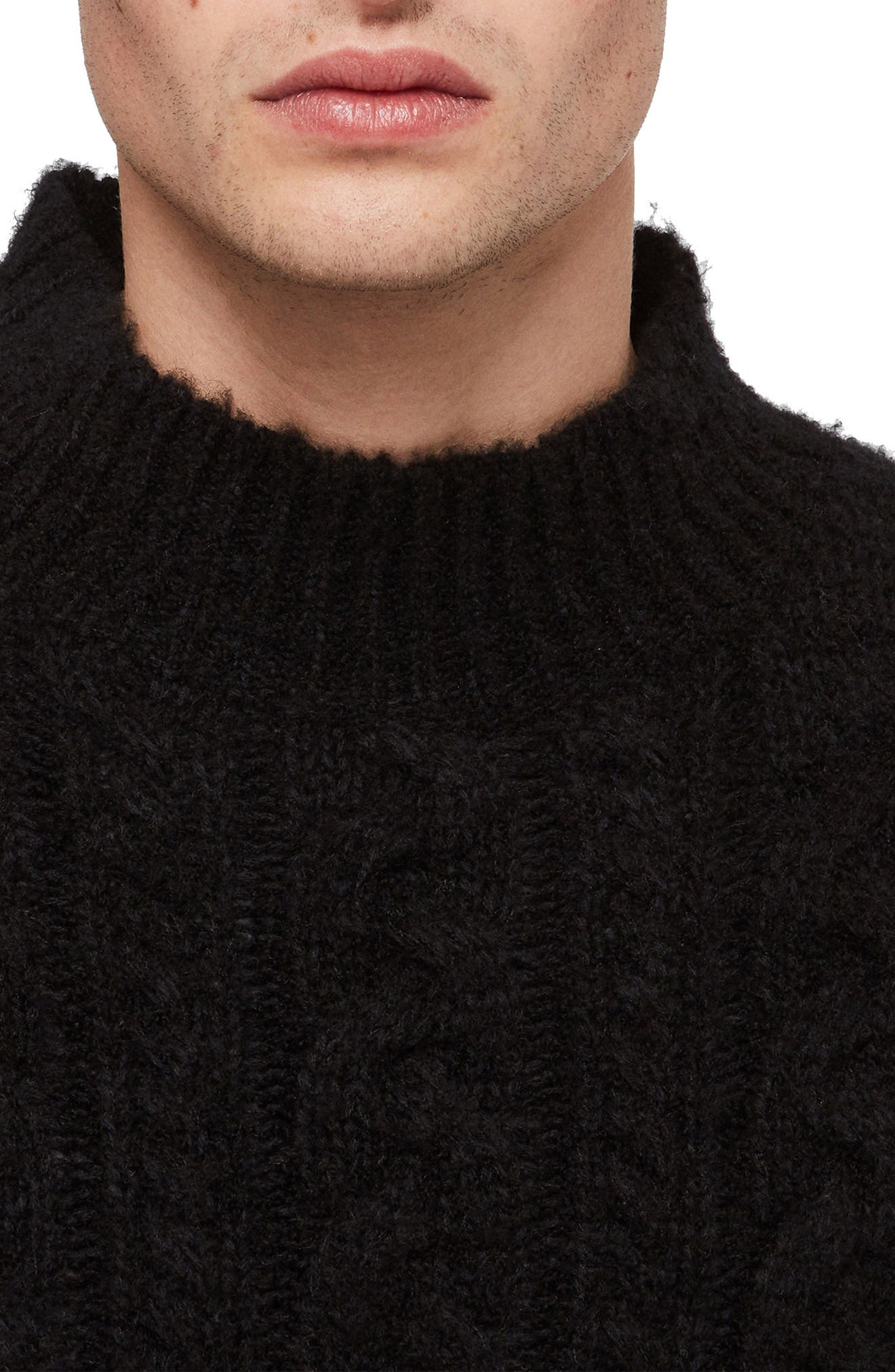 Oversize Cable Wool Blend Funnel Neck Sweater,                             Alternate thumbnail 3, color,                             BLACK