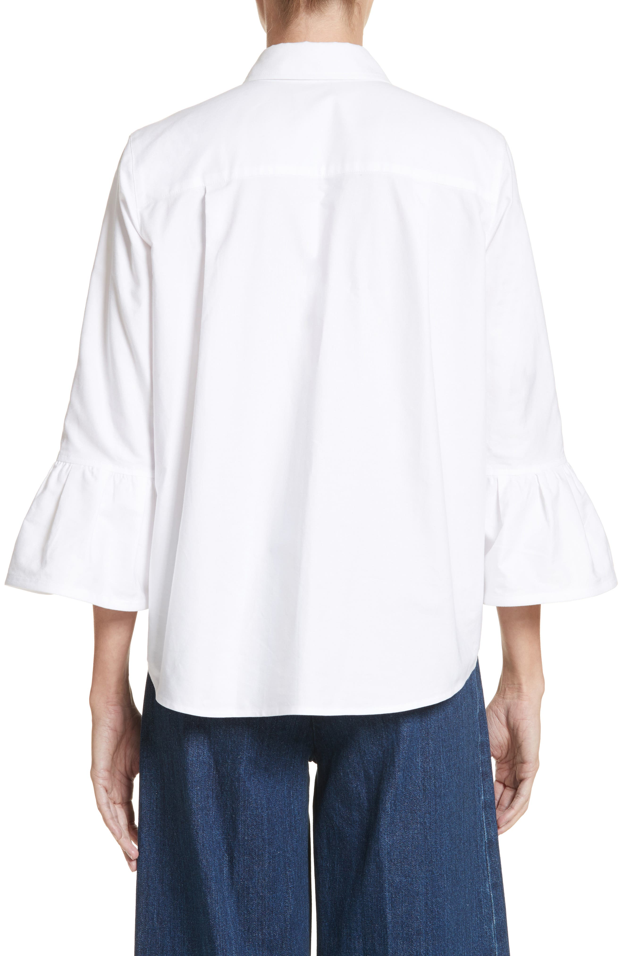 Bell Sleeve Cotton Top,                             Alternate thumbnail 2, color,                             100