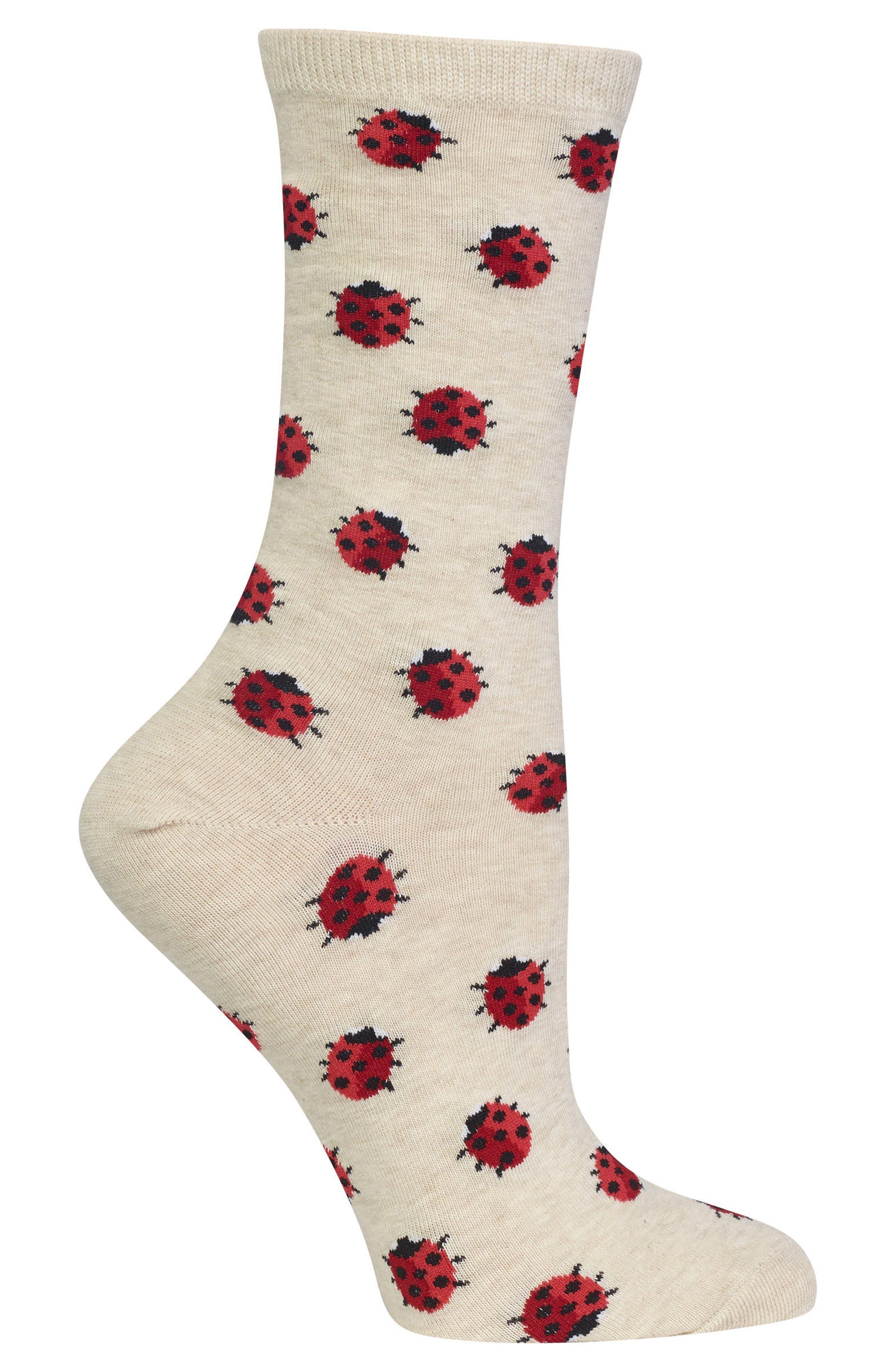 Ladybug Crew Socks,                             Alternate thumbnail 3, color,
