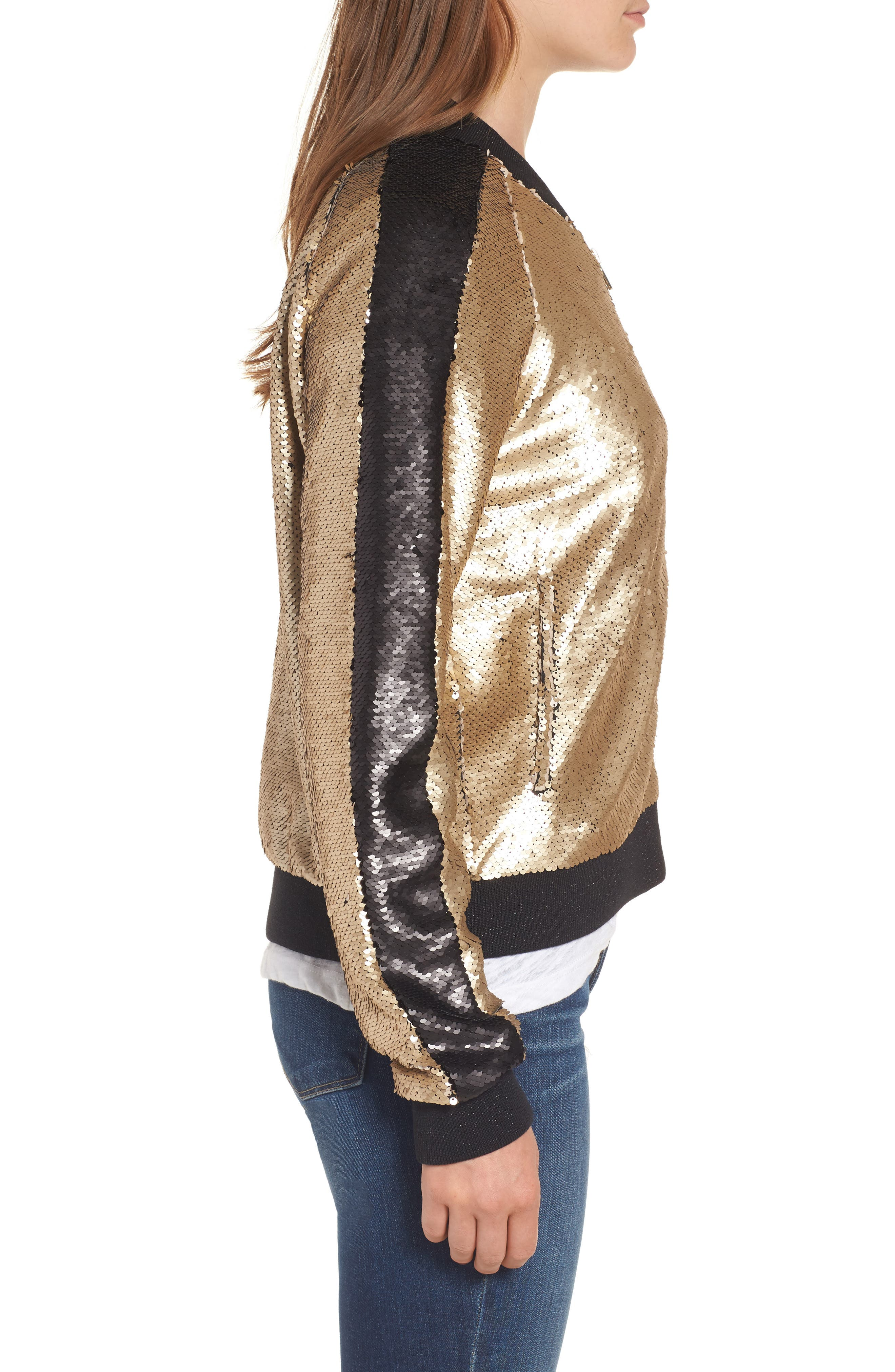 Sequin Bomber Jacket,                             Alternate thumbnail 3, color,                             710