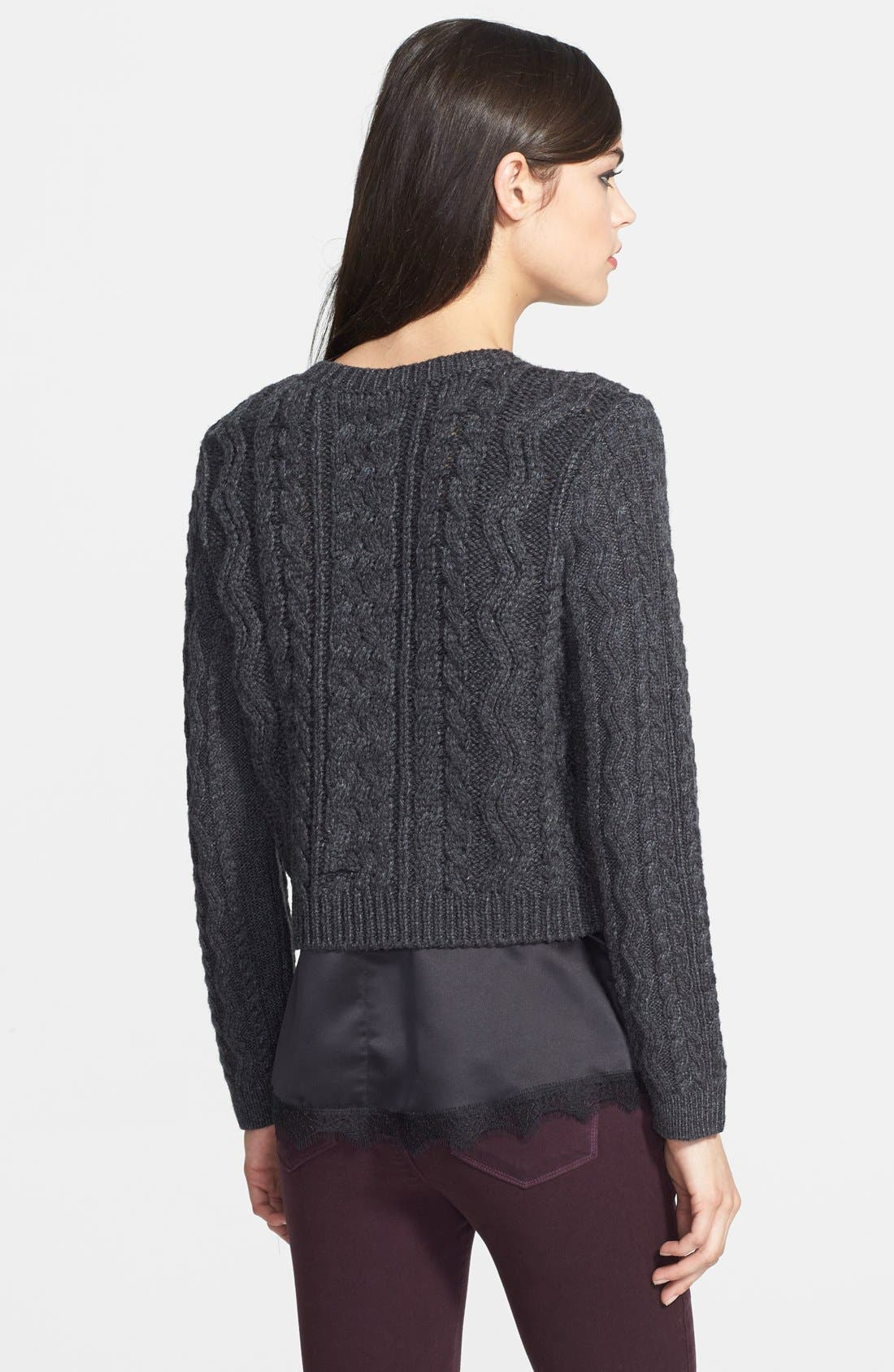 CHELSEA28,                             Cabled Crop Sweater,                             Alternate thumbnail 4, color,                             020