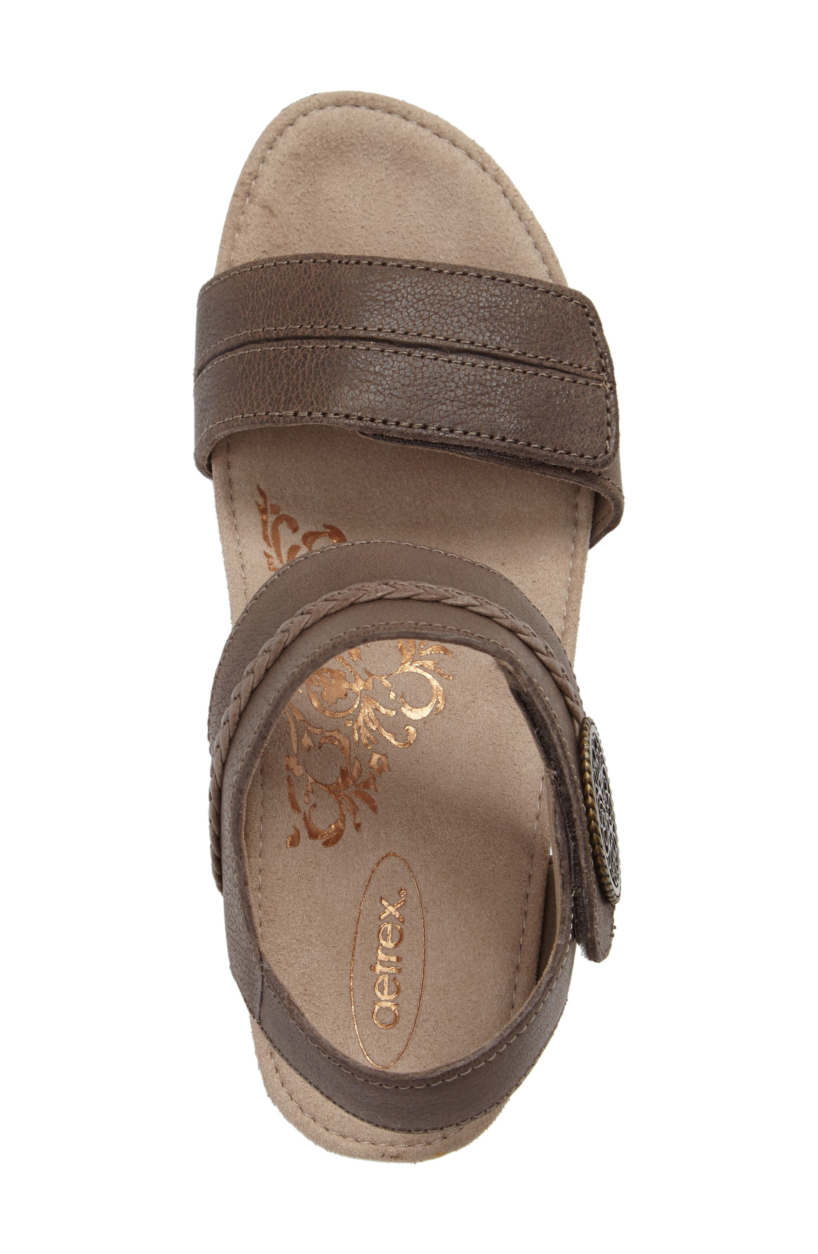 'Arielle' Leather Wedge Sandal,                             Alternate thumbnail 5, color,                             STONE LEATHER