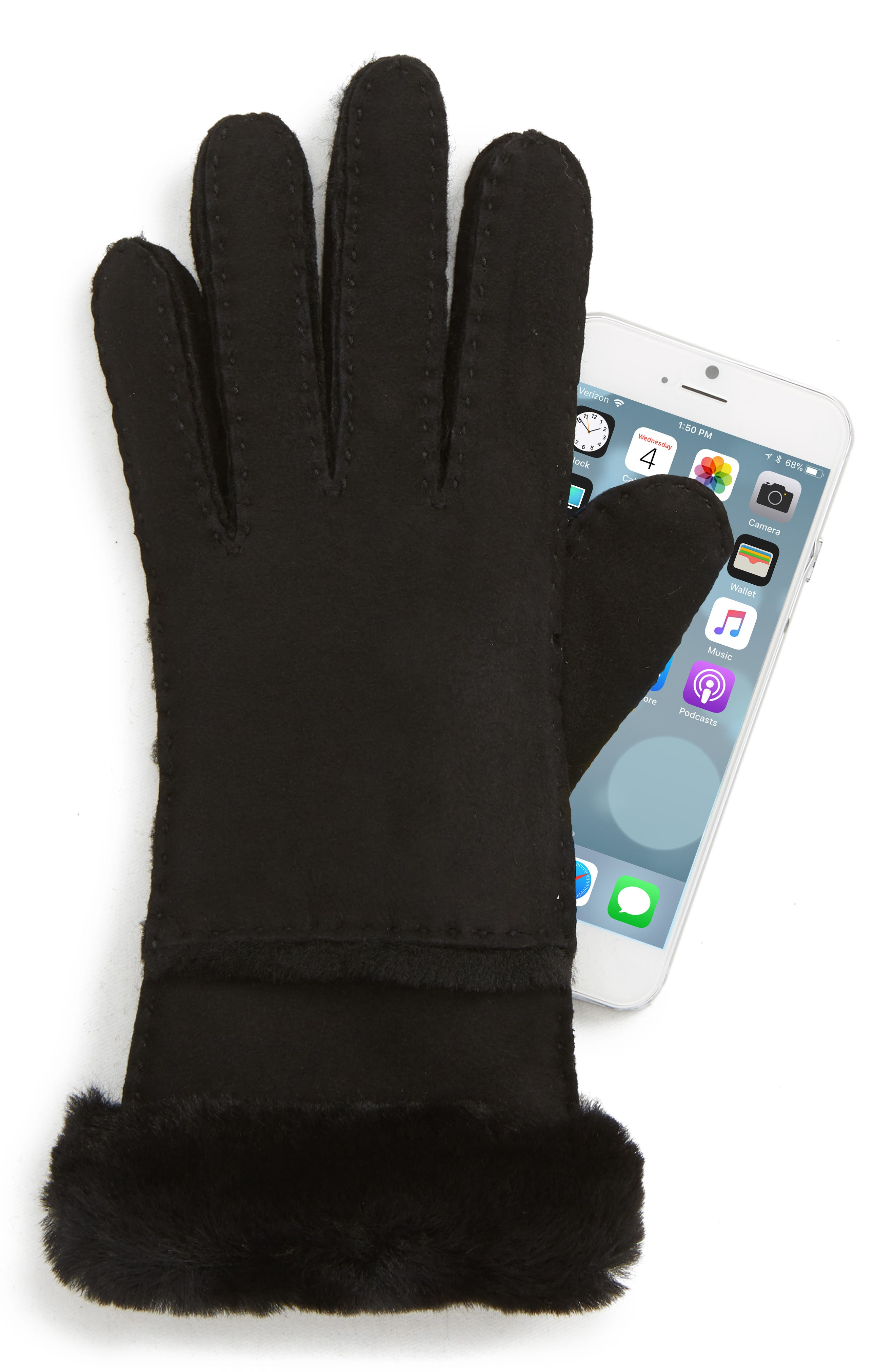 UGG<sup>®</sup> Seamed Touchscreen Compatible Gloves with Genuine Shearling Trim,                             Alternate thumbnail 2, color,                             BLACK