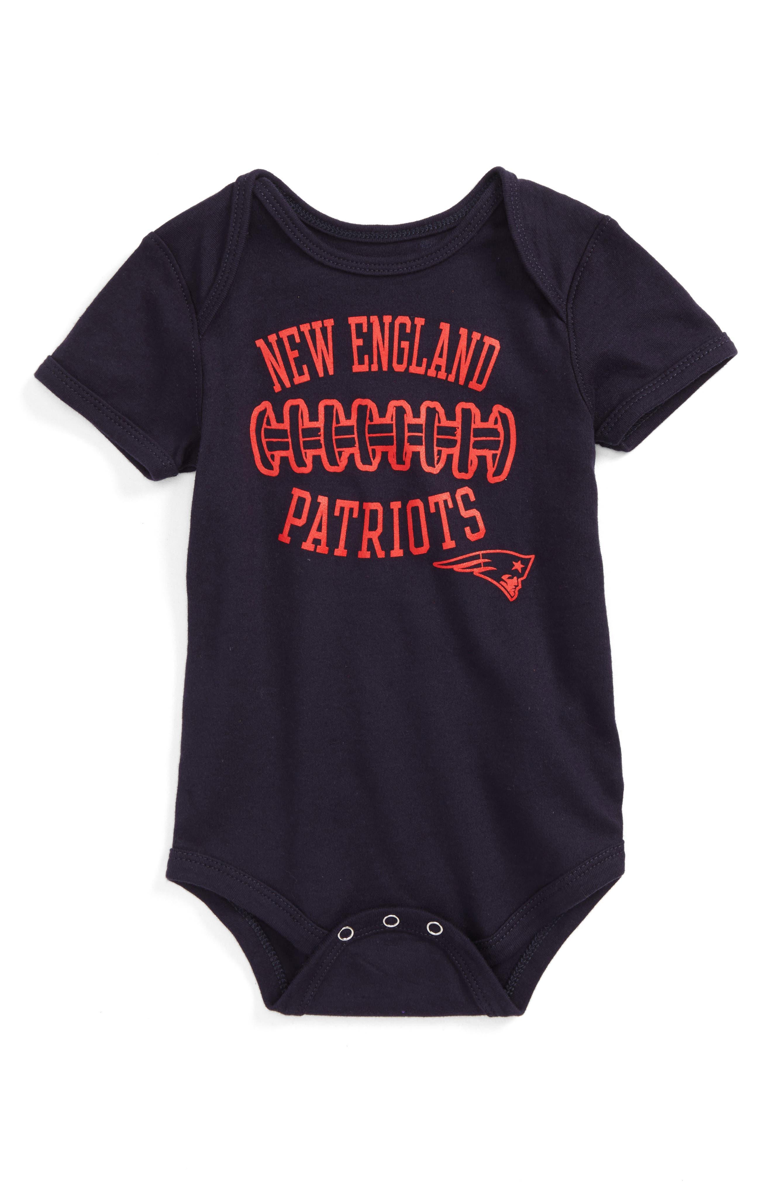NFL Logo New England Patriots Fan-Atic Football Bodysuit,                             Main thumbnail 1, color,                             400