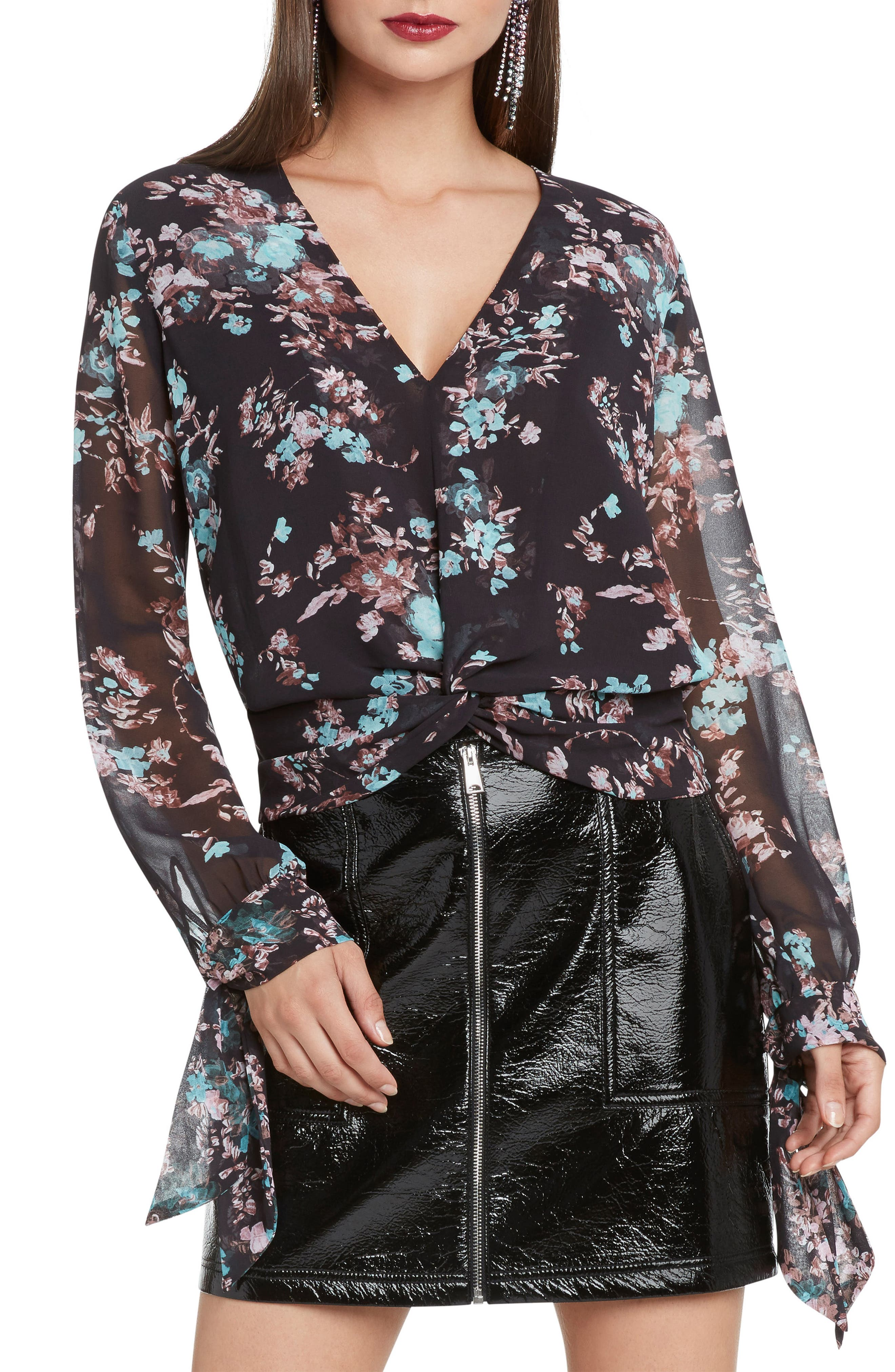 Floral Print Ruched Top,                             Main thumbnail 1, color,                             STEEL
