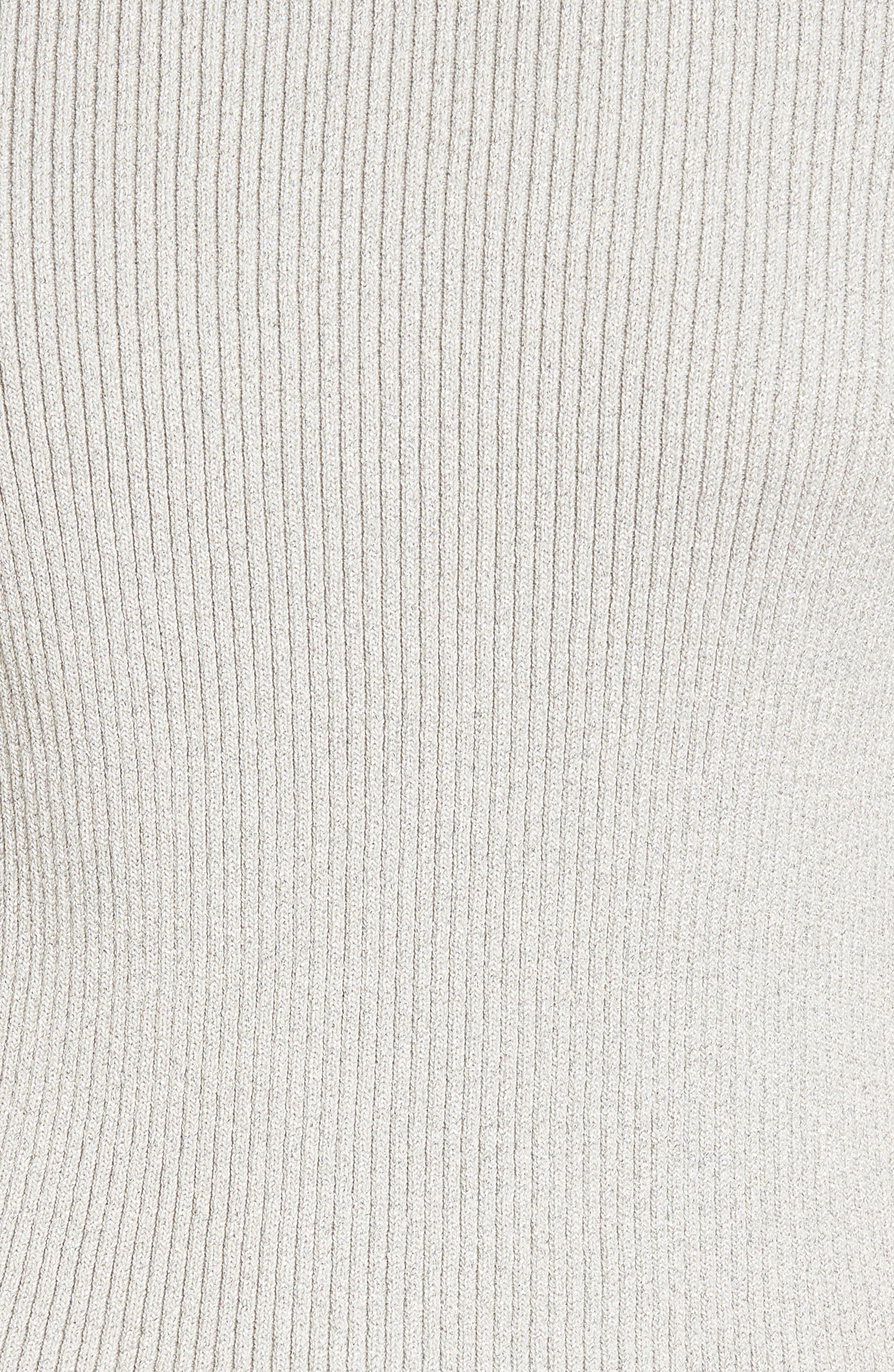 Elbow Sleeve Mock Neck Sweater,                             Alternate thumbnail 5, color,                             LIGHT GRAY