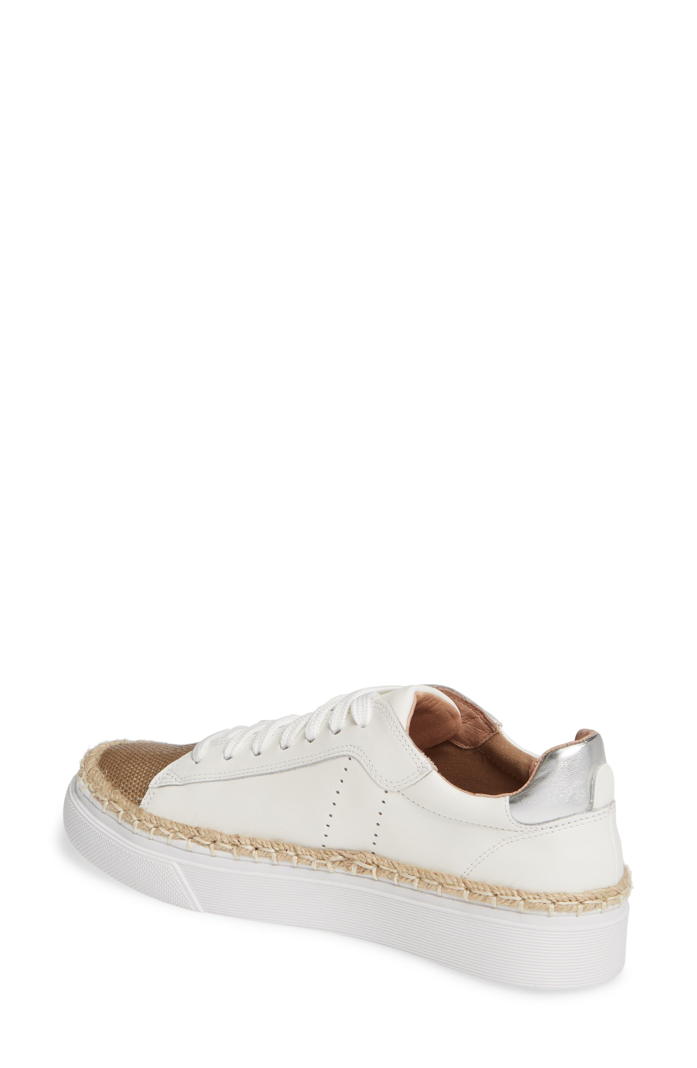 CASLON<SUP>®</SUP>,                             Caleb Platform Sneaker,                             Alternate thumbnail 2, color,                             WHITE LEATHER/ RAFFIA